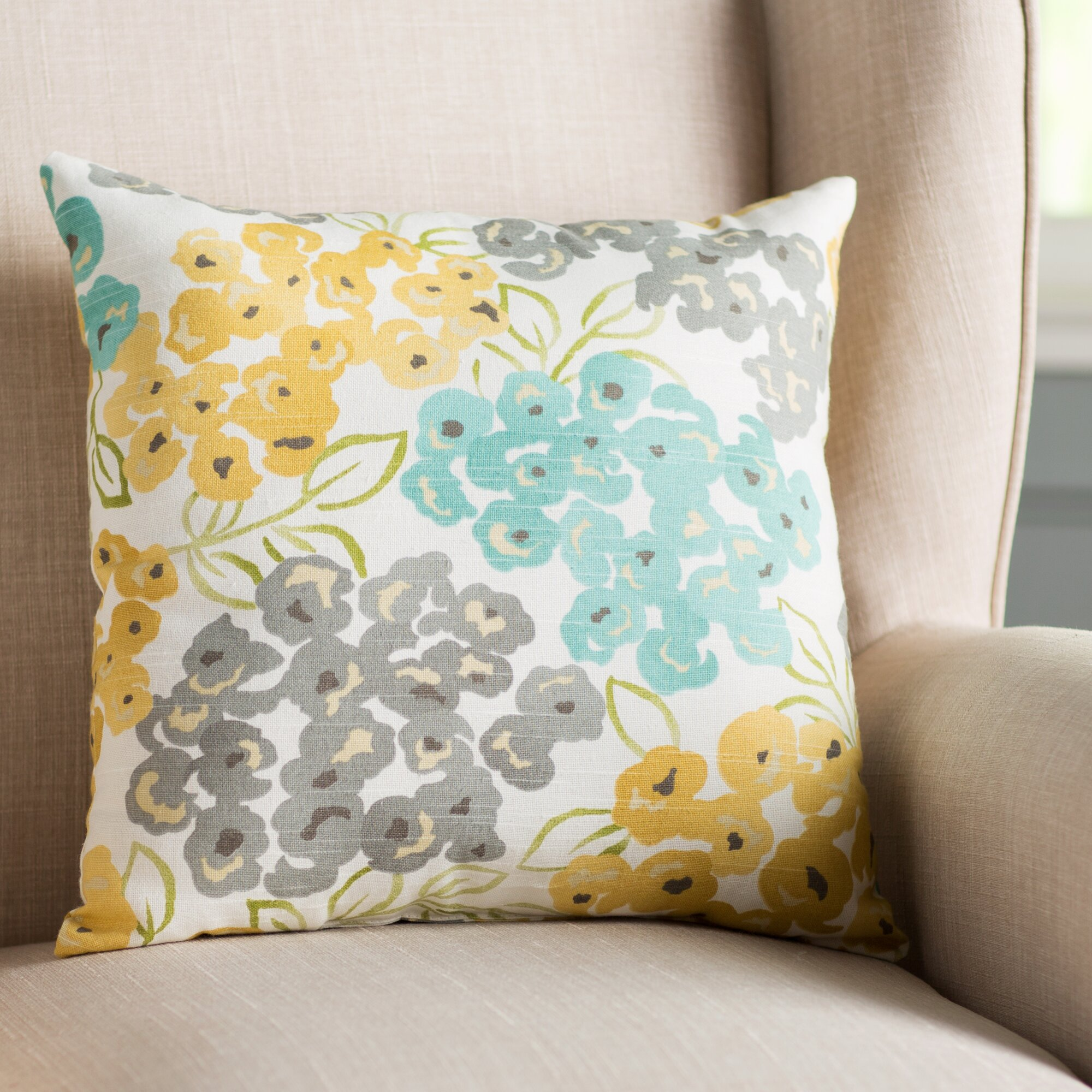 Alcott Hill Malcolm Floral Cotton Throw Pillow Amp Reviews
