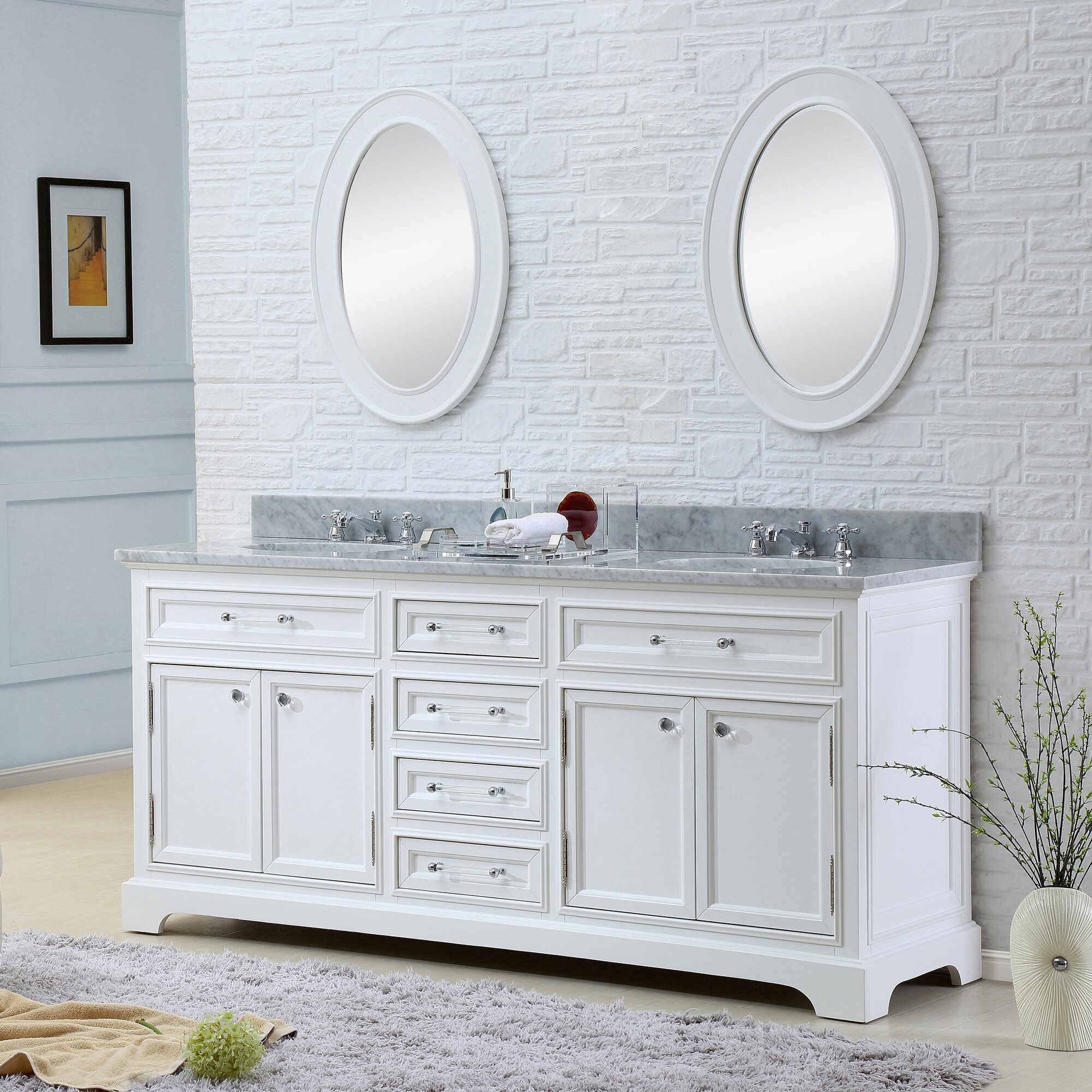 Darby Home Co Colchester  Double Sink Bathroom Vanity Set With - White bathroom vanity with sink