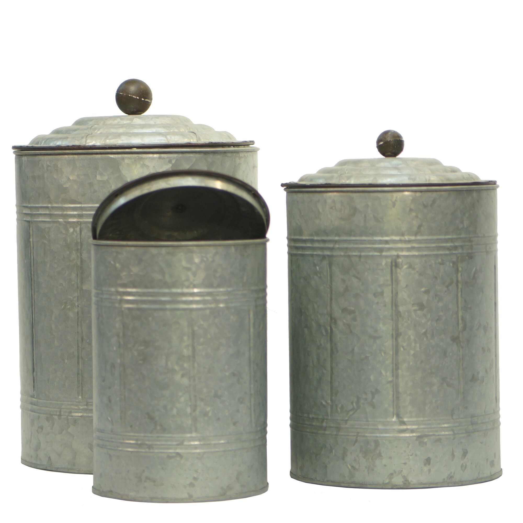 american mercantile metal 3 piece kitchen canister set