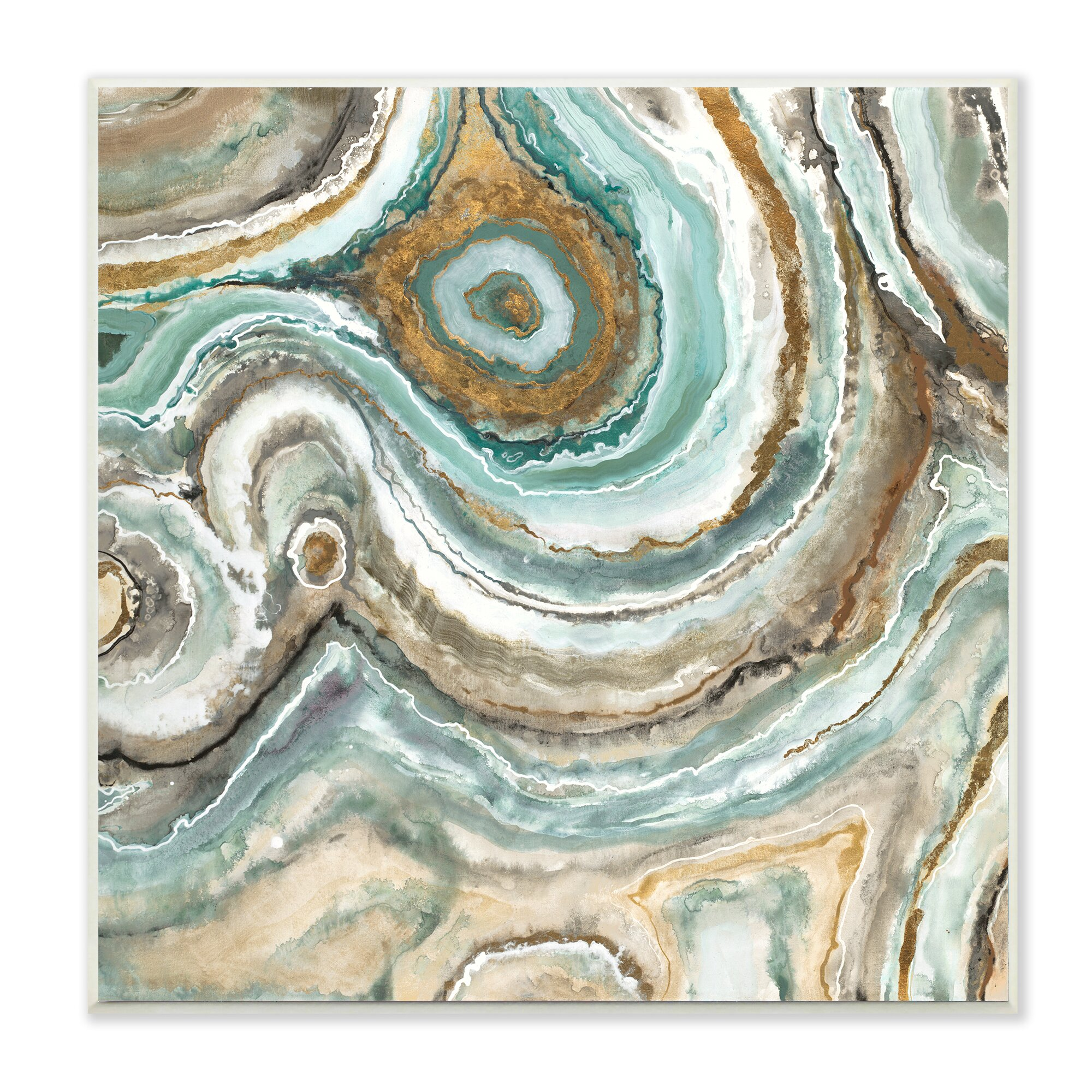 Stupell industries aqua geode stone photographic print for Wall artwork paintings
