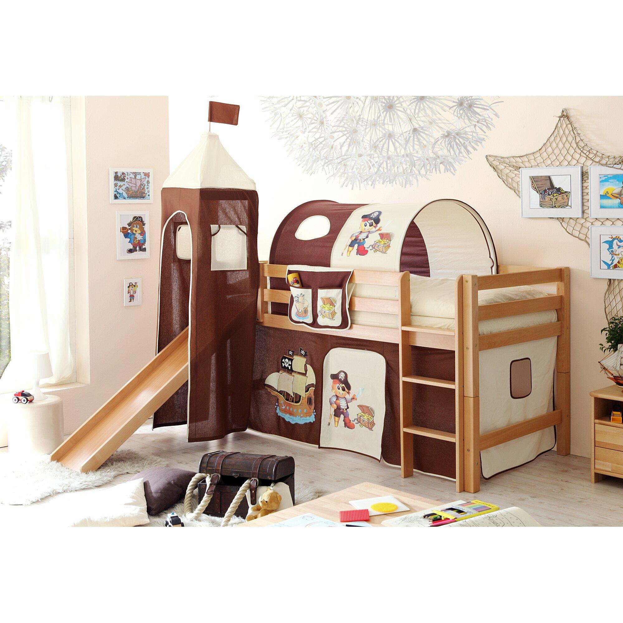 ticaa halbhochbett krabbi mit rutsche 90 x 200 cm. Black Bedroom Furniture Sets. Home Design Ideas