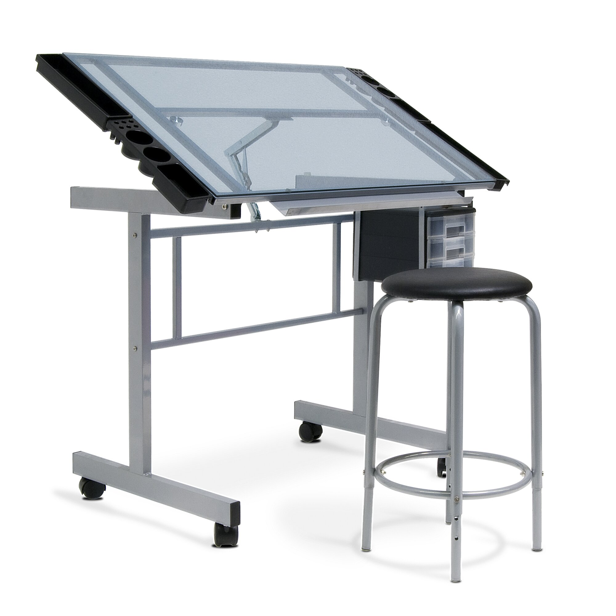 Studio Design Drafting Table shop all studio designs 26999 Vision 2 Piece Craft Station And Glass Drafting Table With Stool