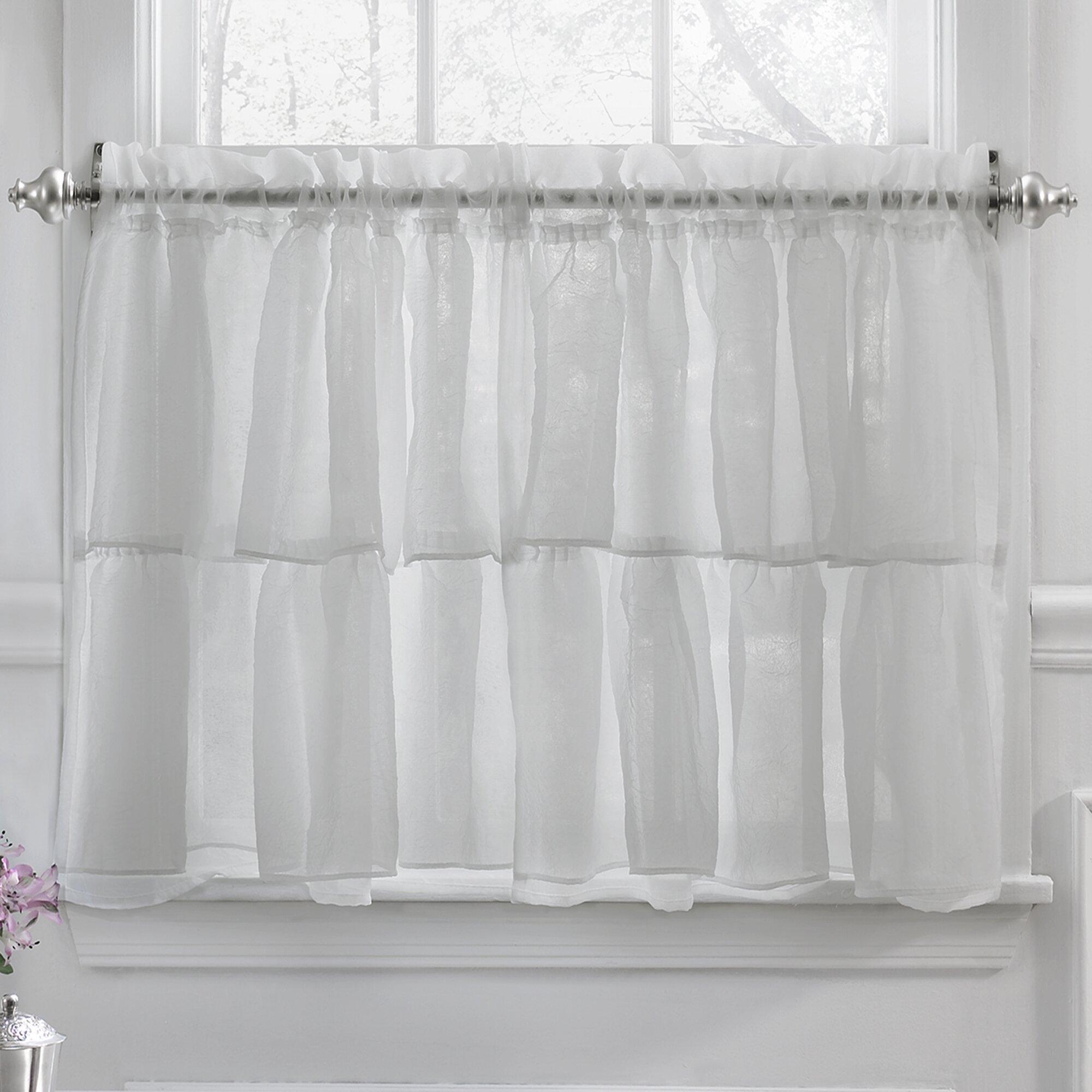 Ruffle window curtain - Elegant Crushed Voile Ruffle Kitchen Window Tier Curtain