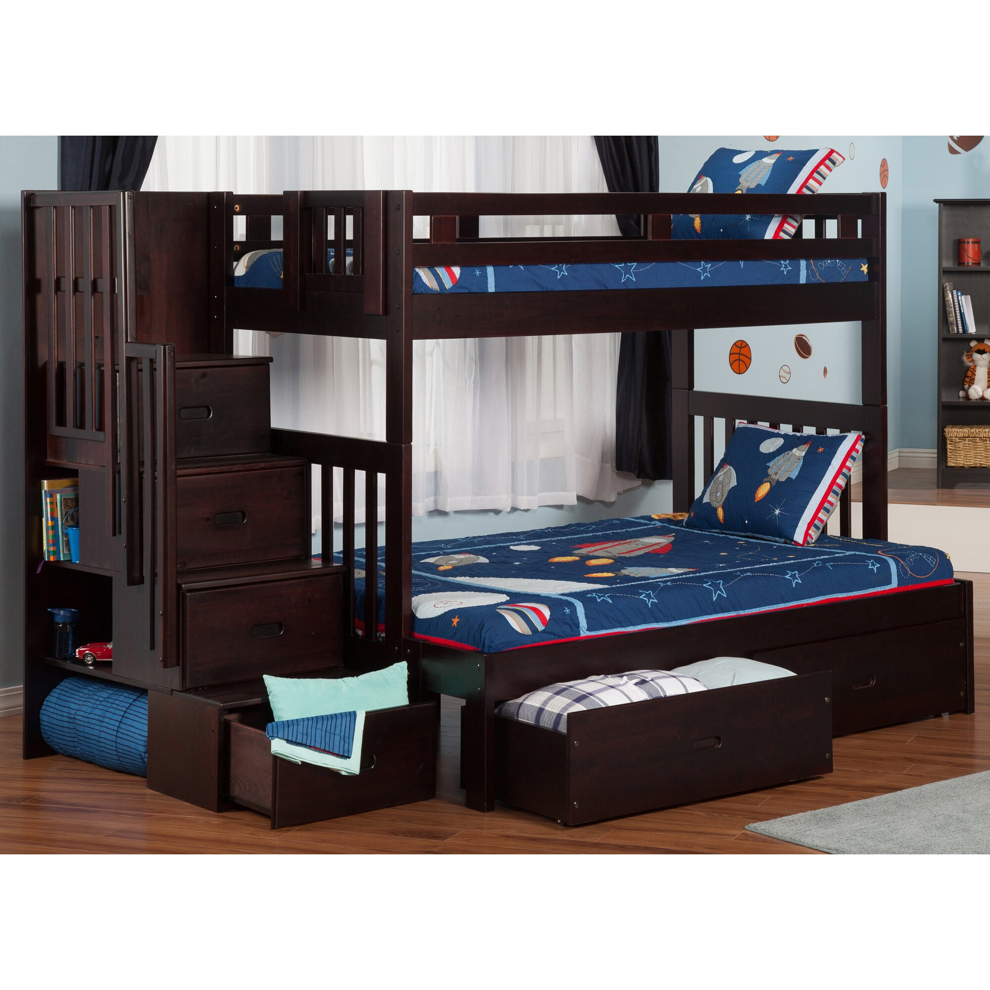 Bunk bed with stairs and storage - Twin Over Full Bunk Bed With Staircase And Storage