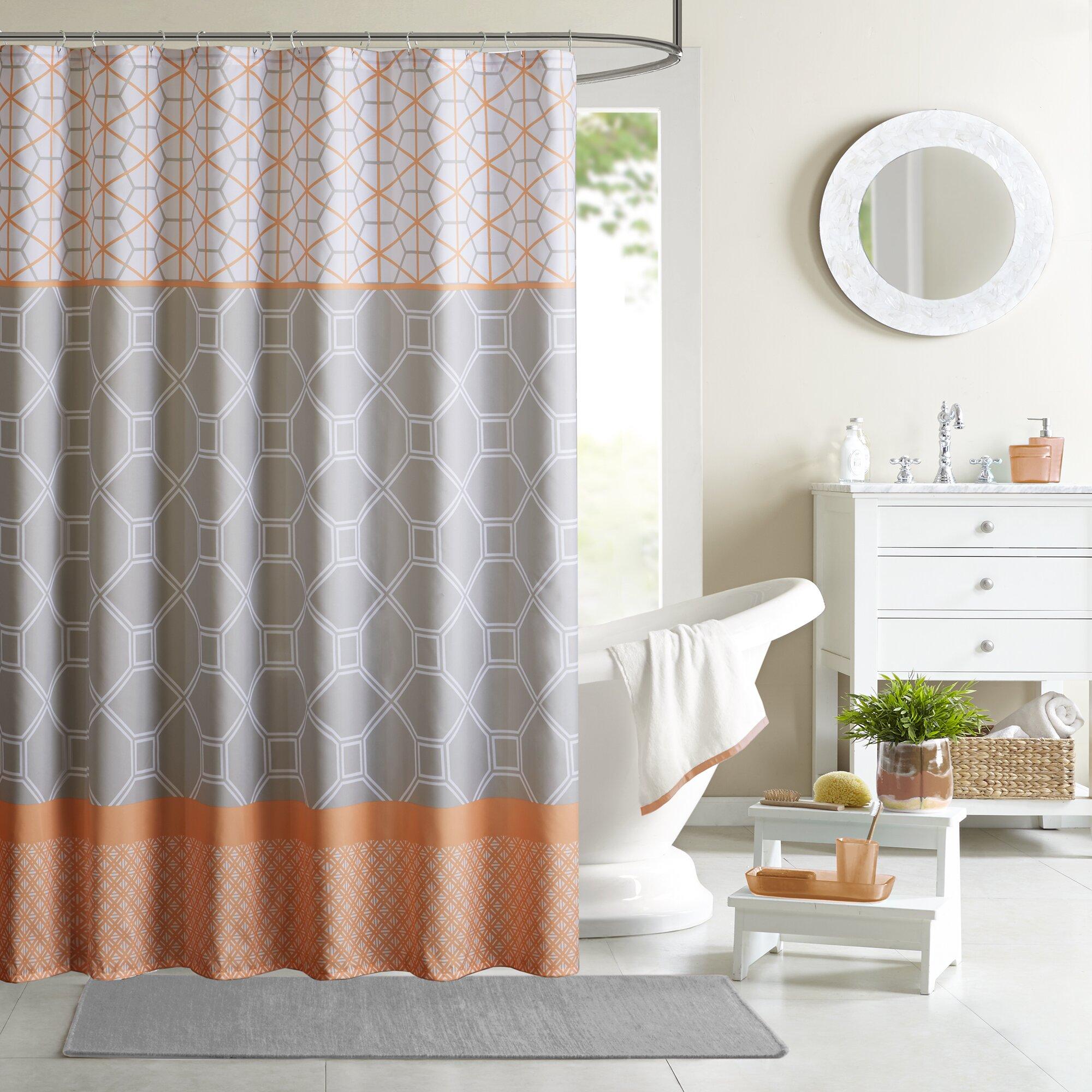 Chevron bathroom sets with shower curtain and rugs - Clara Microfiber Shower Curtain