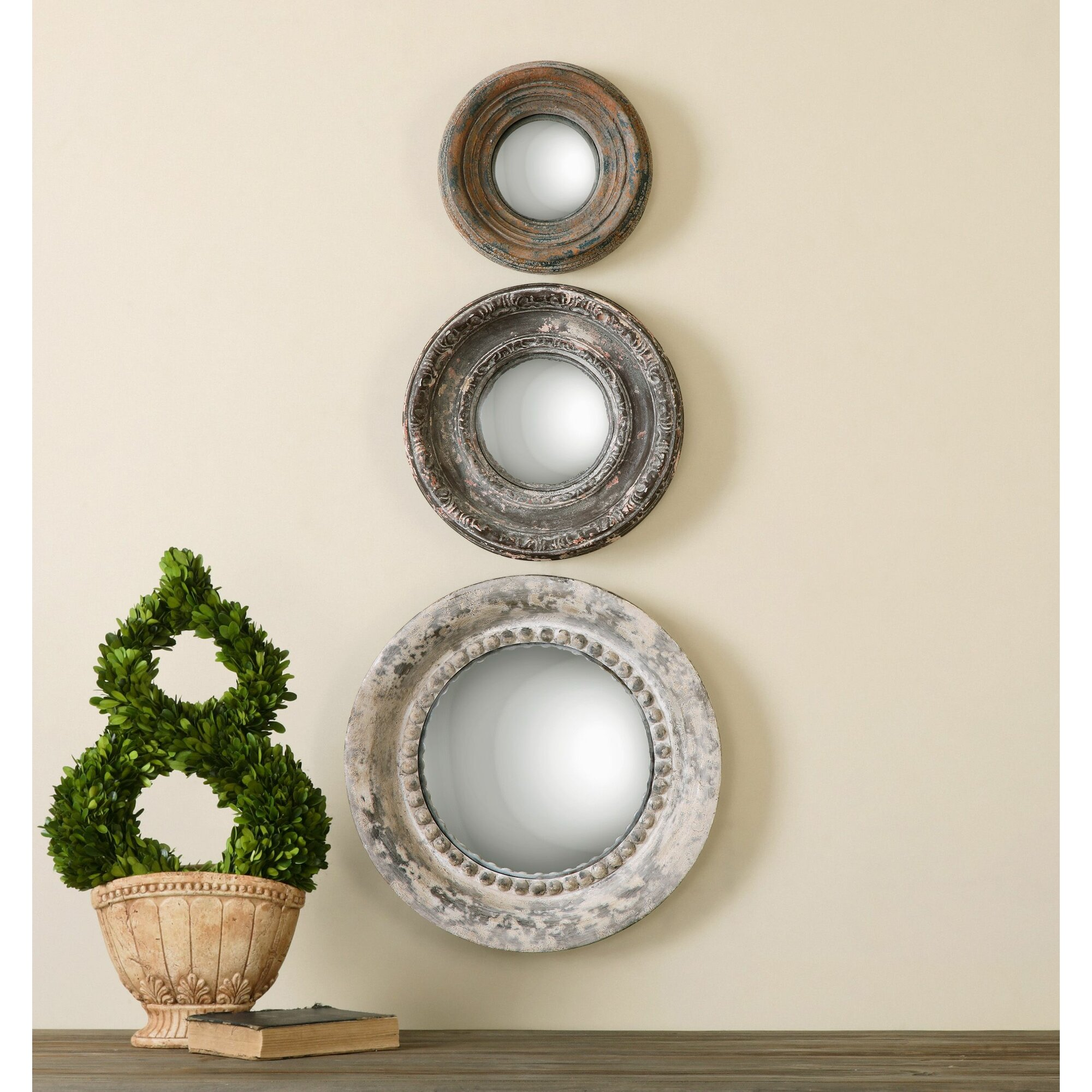 3 piece alona round large wall mirror set reviews joss for Large mirror sets