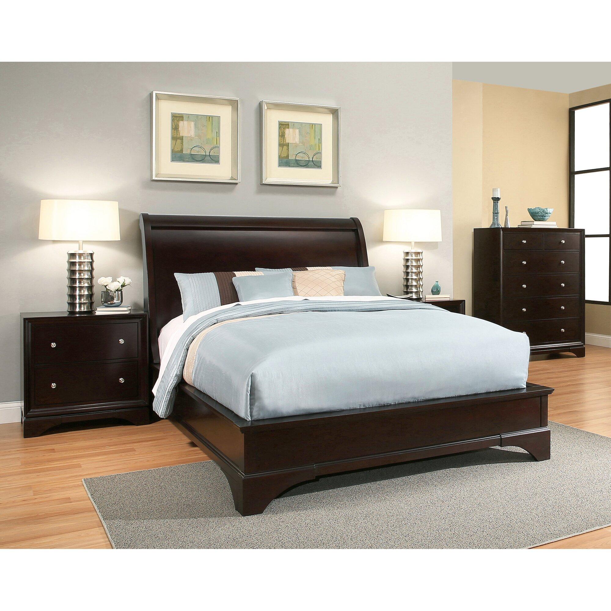 Latitude run juliana sleigh 4 piece bedroom set for 4 piece bedroom furniture set