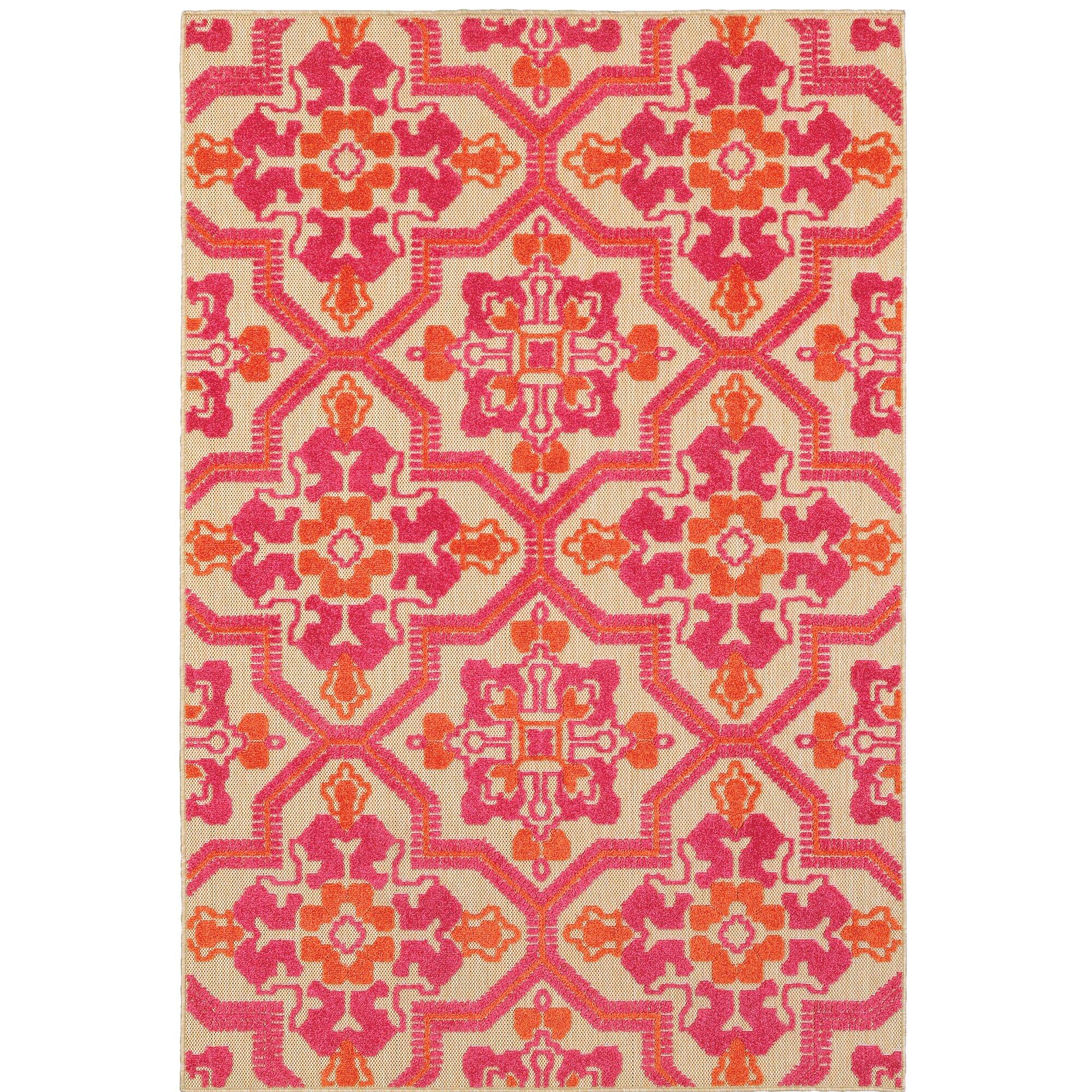 Varick Gallery Sawin Sand/Pink Indoor/Outdoor Area Rug