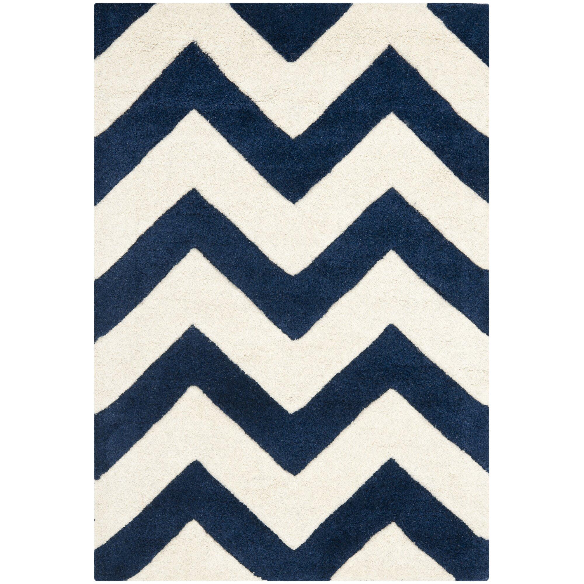 chevron area rug - varick gallery wilkin dark blue ivory chevron area rug reviews