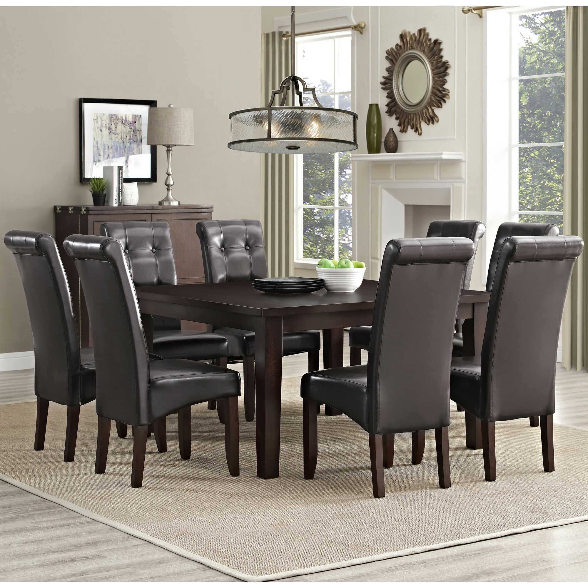 Simpli home eastwood 9 piece dining set reviews wayfair for Dining room furniture 9 piece
