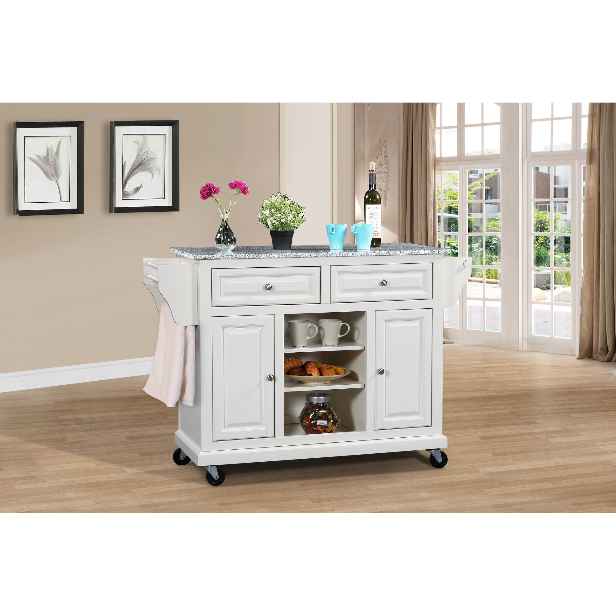 Kitchen Island With Granite Top: Wildon Home ® Kitchen Island With Granite Top & Reviews