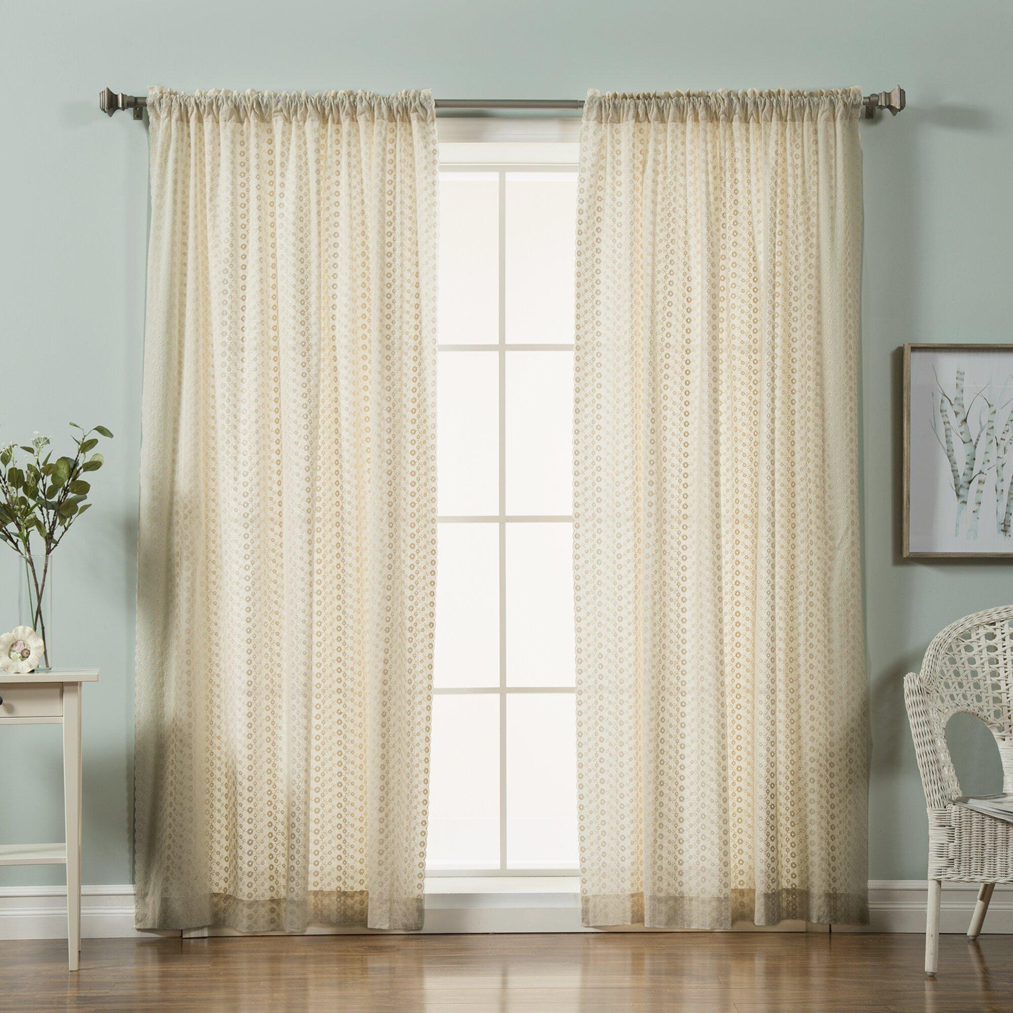 Best Home Fashion Inc Mini Nature Floral Semi Sheer Tab Top Curtain Panels Reviews