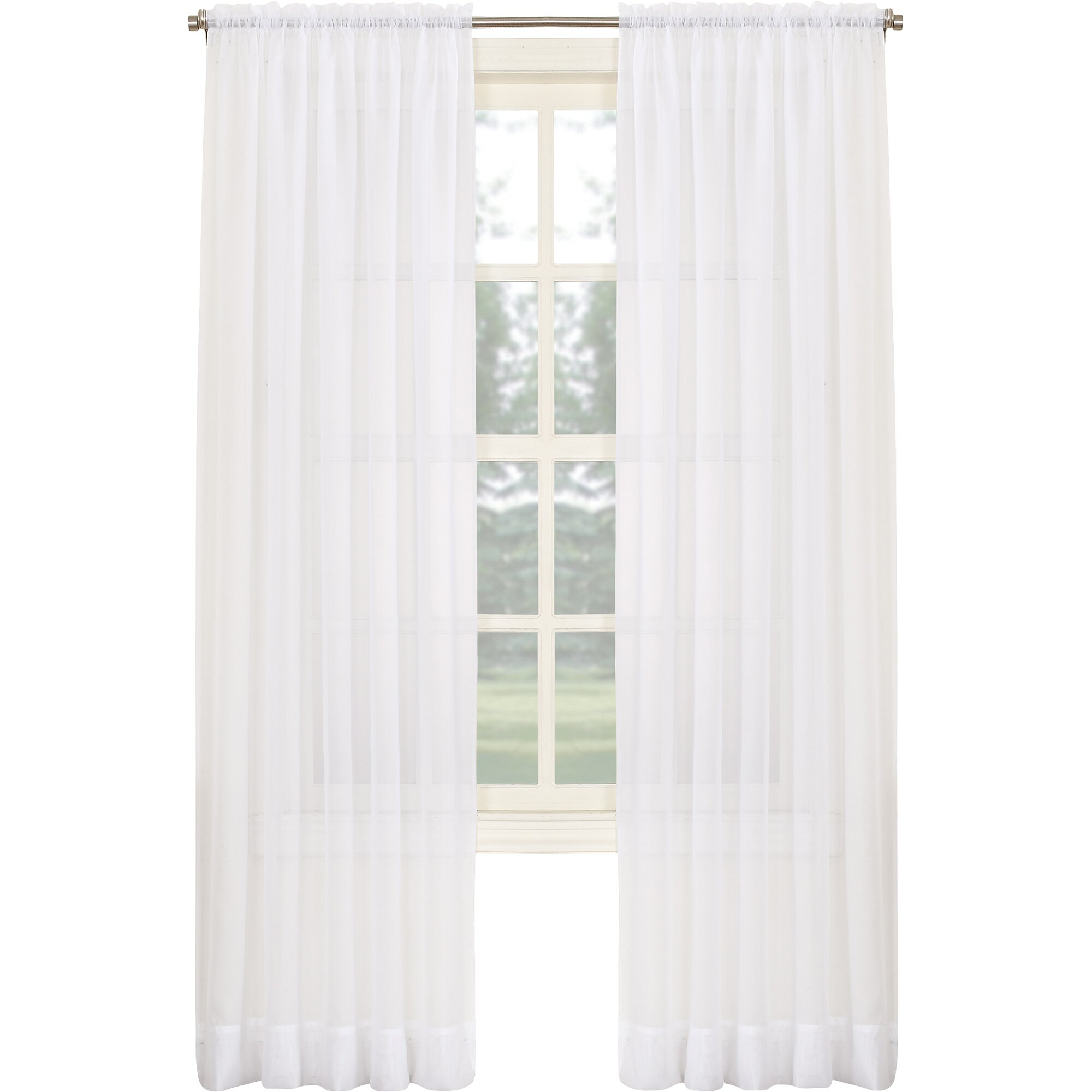 No 918 Sheer Voile Solid Rod Pocket Single Curtain Panel Reviews Wayfair