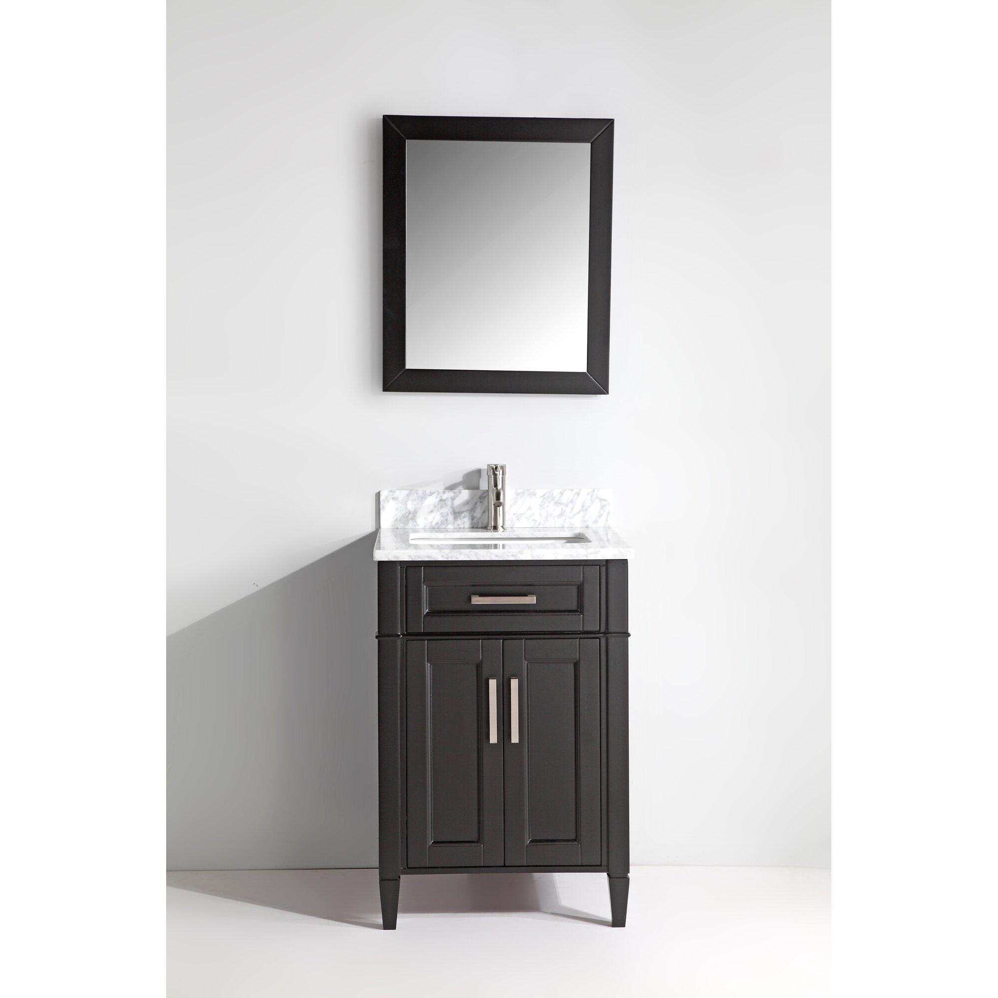 Vanity art carrara marble 24quot single bathroom vanity with for Carrara marble bathroom vanity