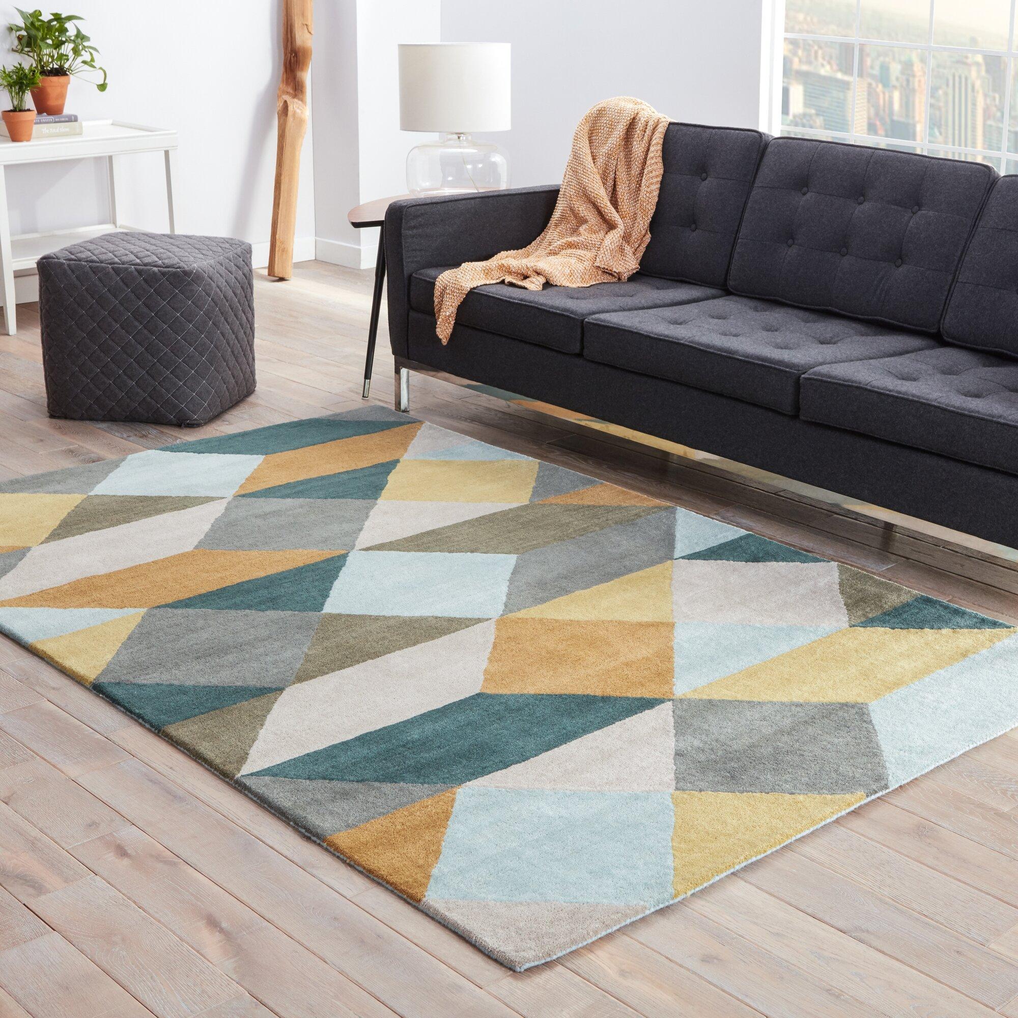 Benson Gray Yellow Geometric Area Rug Amp Reviews Allmodern