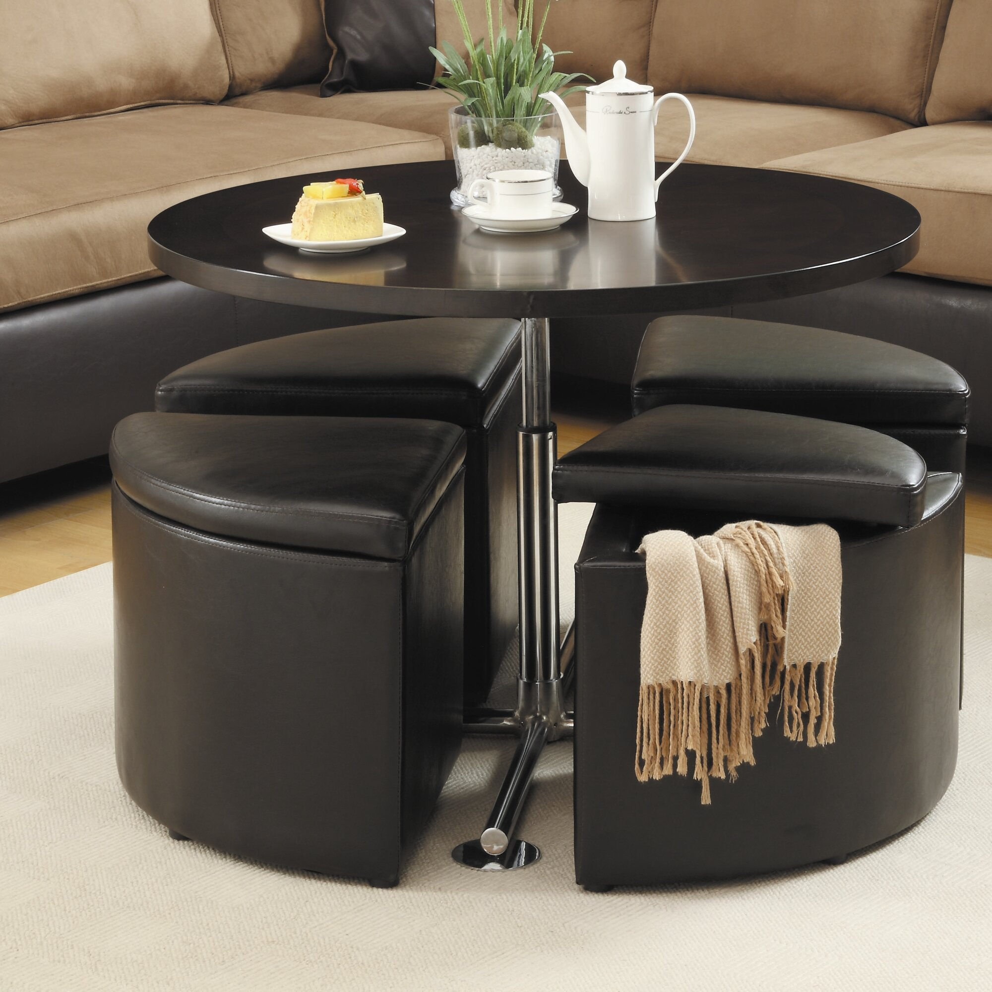 Coffee table with nesting ottomans - Dempsey Gas Lift Coffee Table With Ottomans