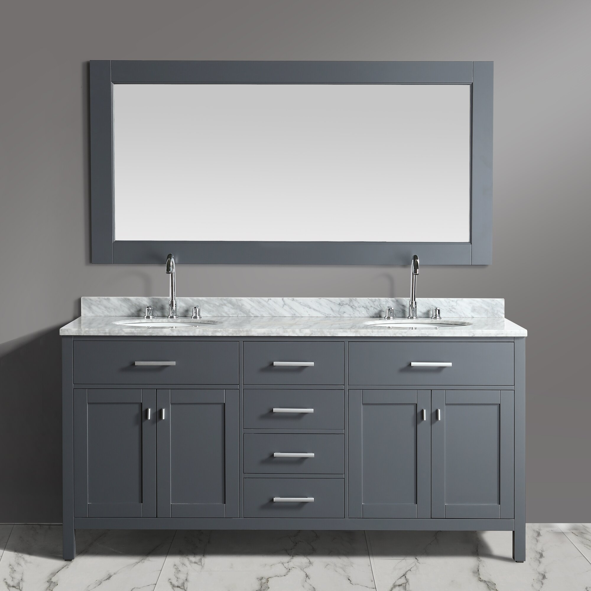 Dcor Design London Stanmark 72 Double Bathroom Vanity Set With Mirror