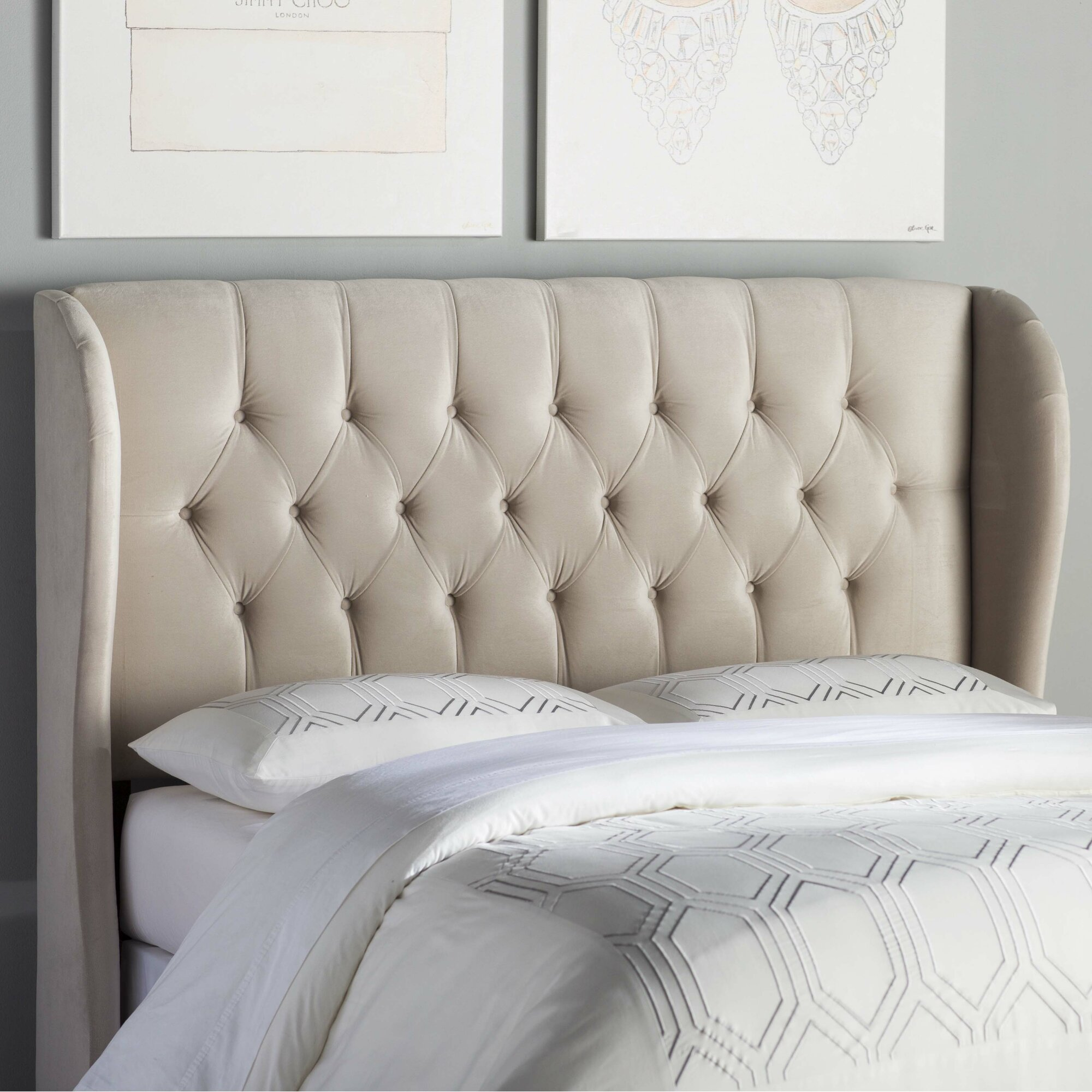 House Of Hampton Tufted Upholstered Wingback Headboard