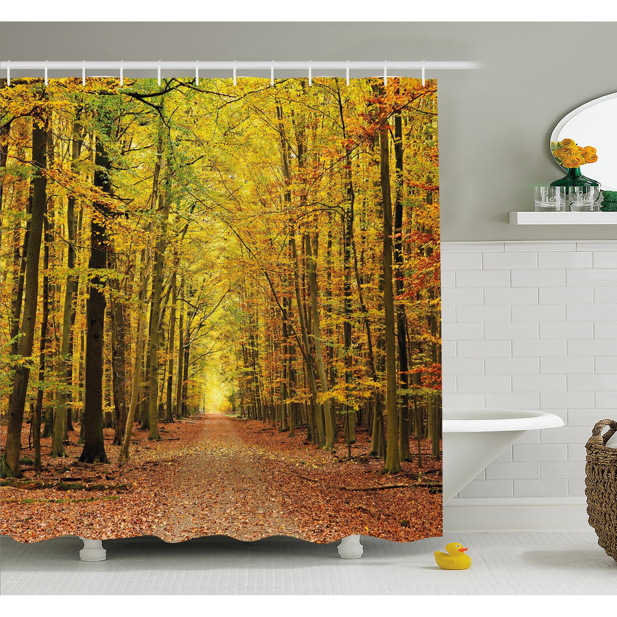 Ambesonne fall pathway in forest with faded leaves for Fall bathroom sets