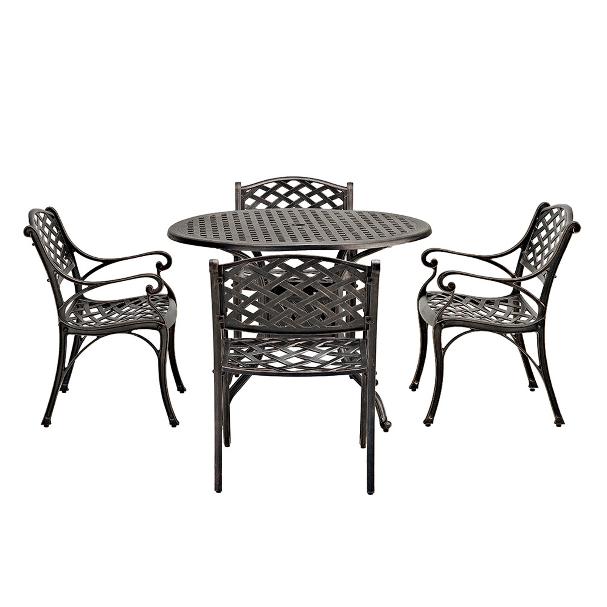 walker edison 42 round cast aluminum patio dining table