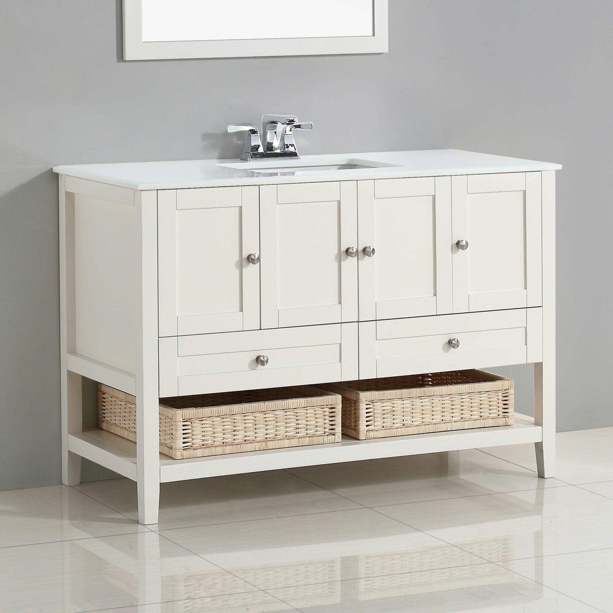 simpli home cape cod 49 single bathroom vanity set reviews wayfair. Black Bedroom Furniture Sets. Home Design Ideas