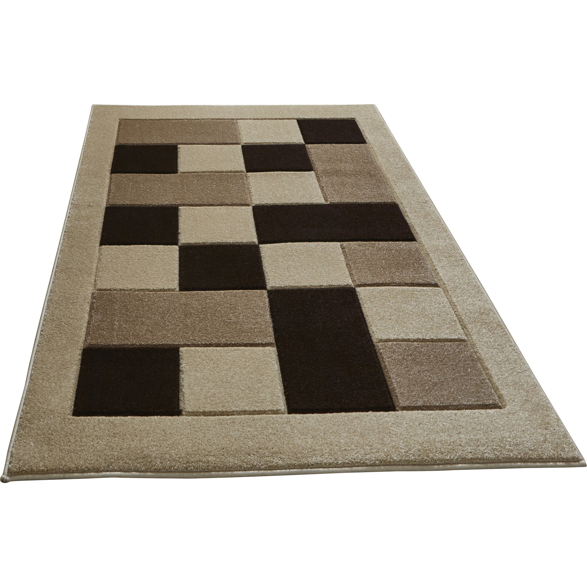 Think rugs handgewebter teppich matrix in beige schwarz