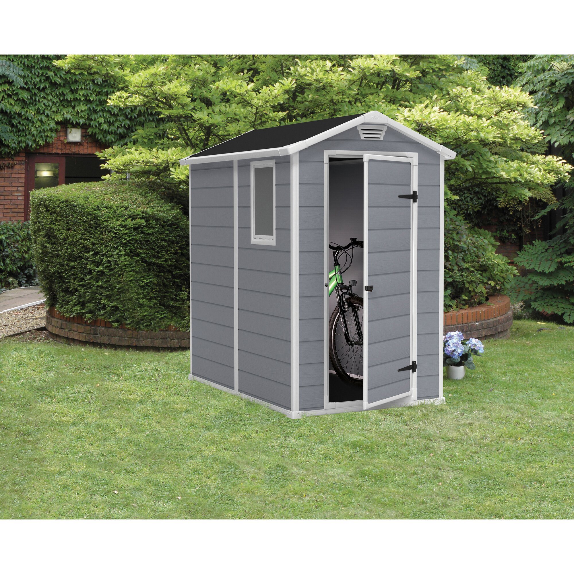 Keter manor 4 ft w x 6 3 ft d resin vertical storage for Resin garden shed