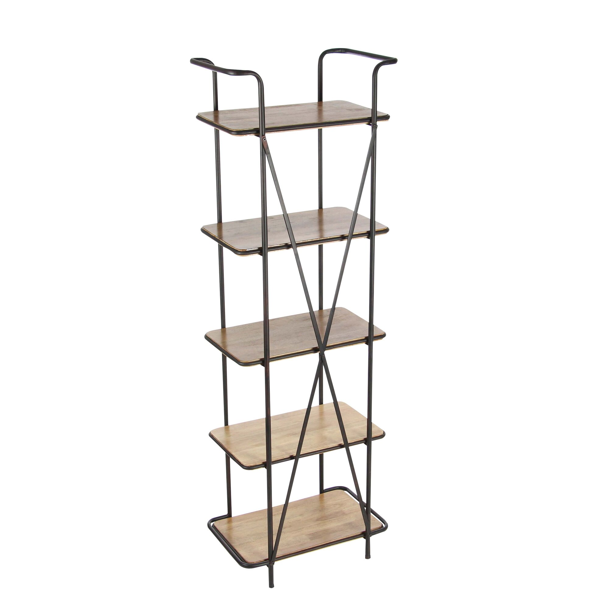 cole grey metal wood 71 etagere bookcase. Black Bedroom Furniture Sets. Home Design Ideas
