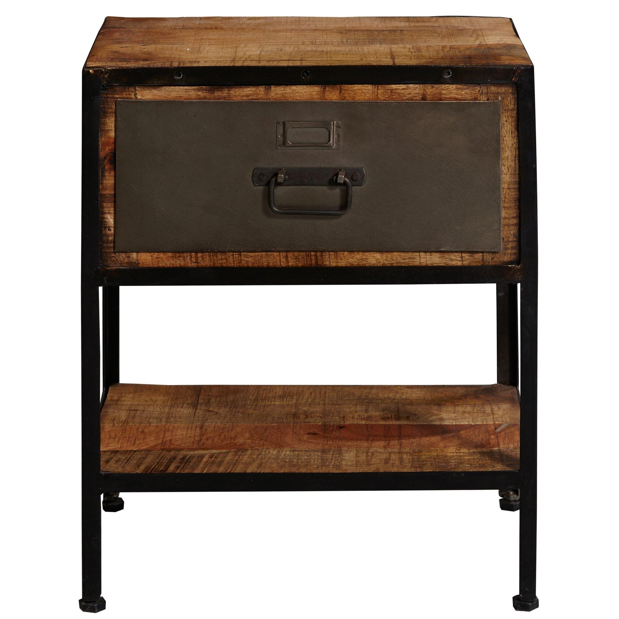 17 stories ivonne industrial metal and wood end table reviews. Black Bedroom Furniture Sets. Home Design Ideas