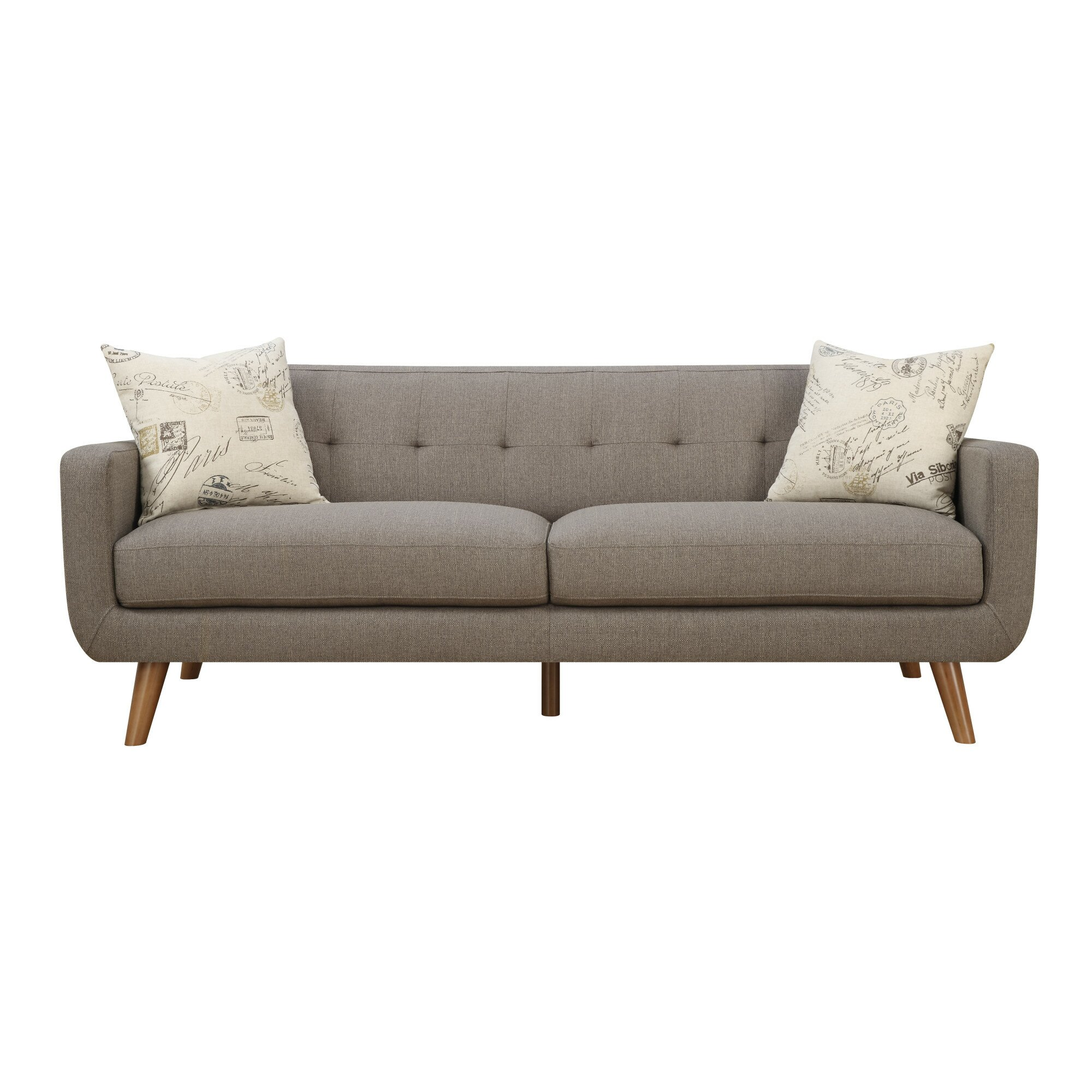 Latitude run mid century modern sofa with accent pillows for Mid century modern sofas