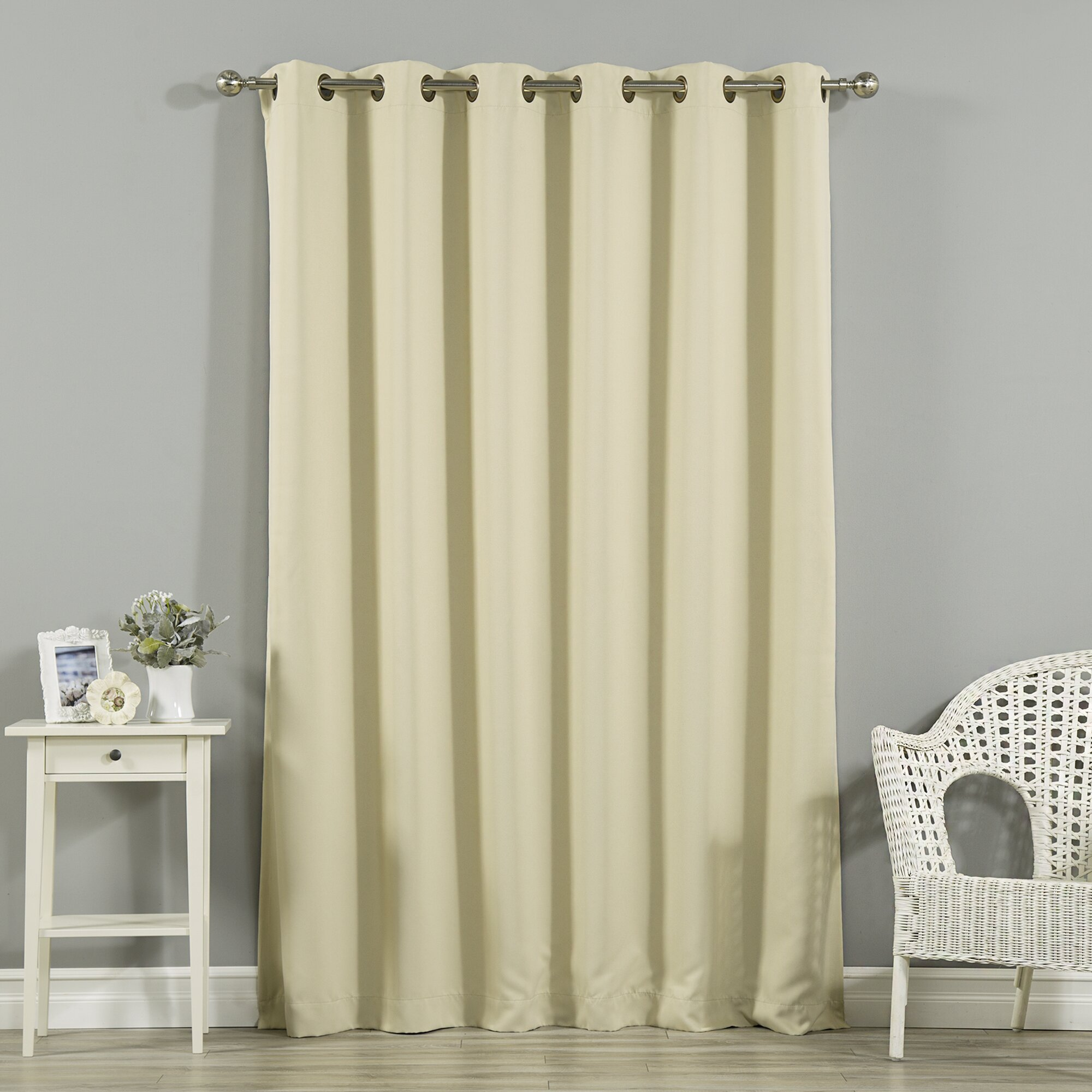 Black ruffle curtains - Scarsdale Extra Solid Blackout Thermal Grommet Single Curtain Panel