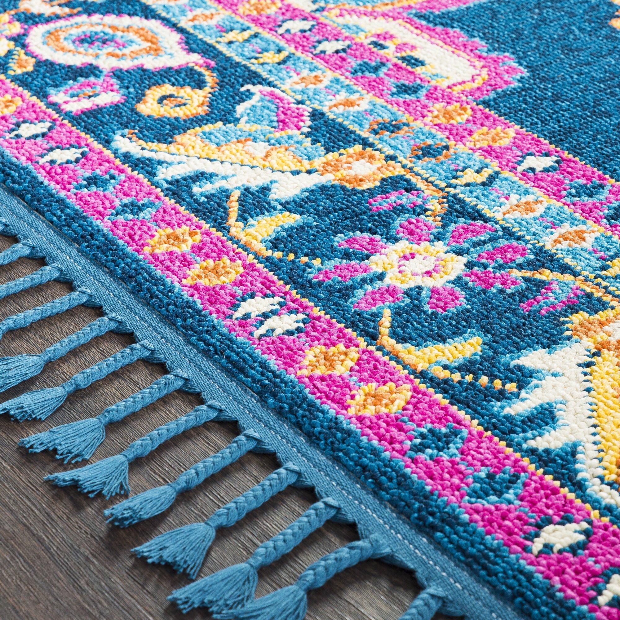 crew boho medallion tassel blue pink area rug joss main. Black Bedroom Furniture Sets. Home Design Ideas