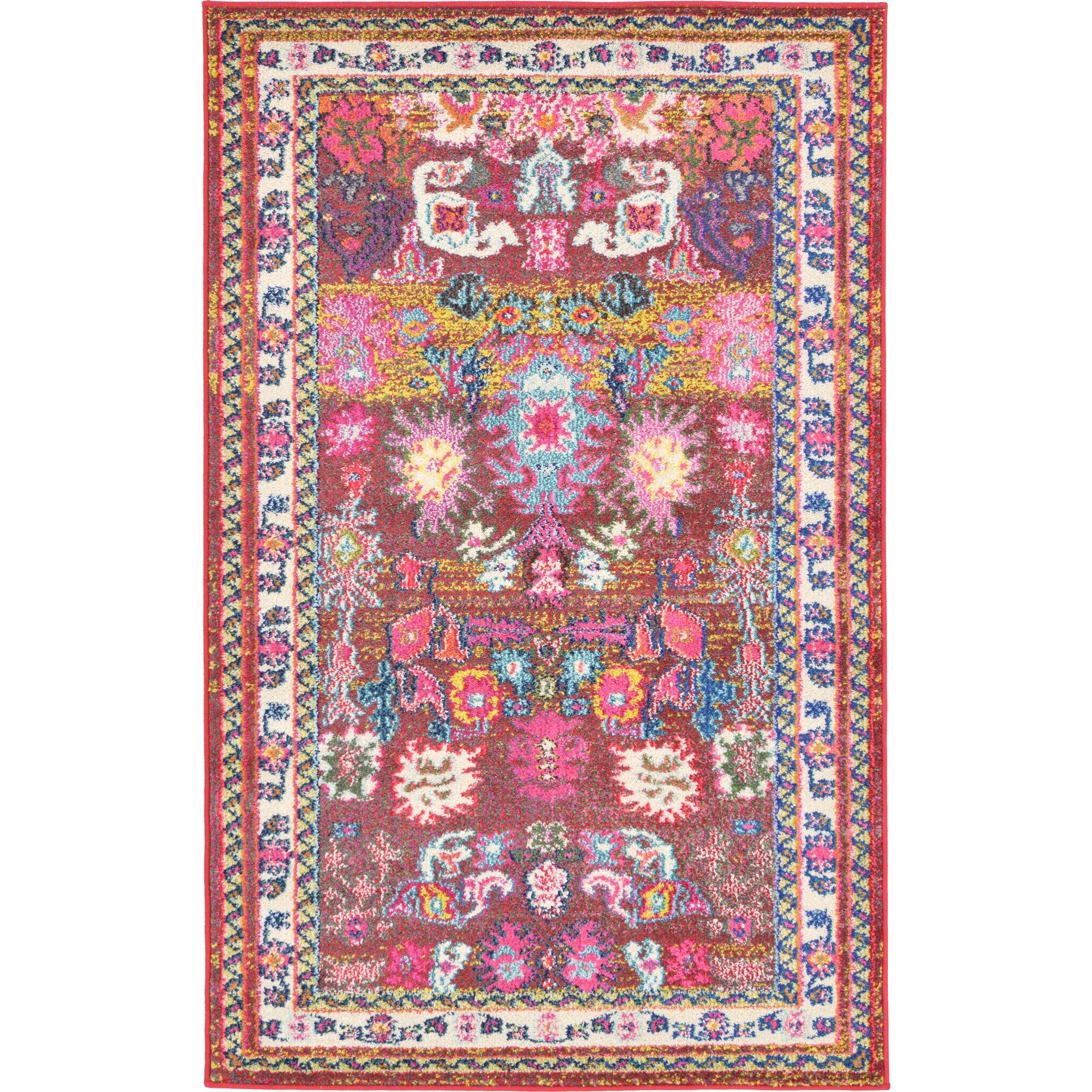 bungalow rose iris area pink blue rug reviews. Black Bedroom Furniture Sets. Home Design Ideas