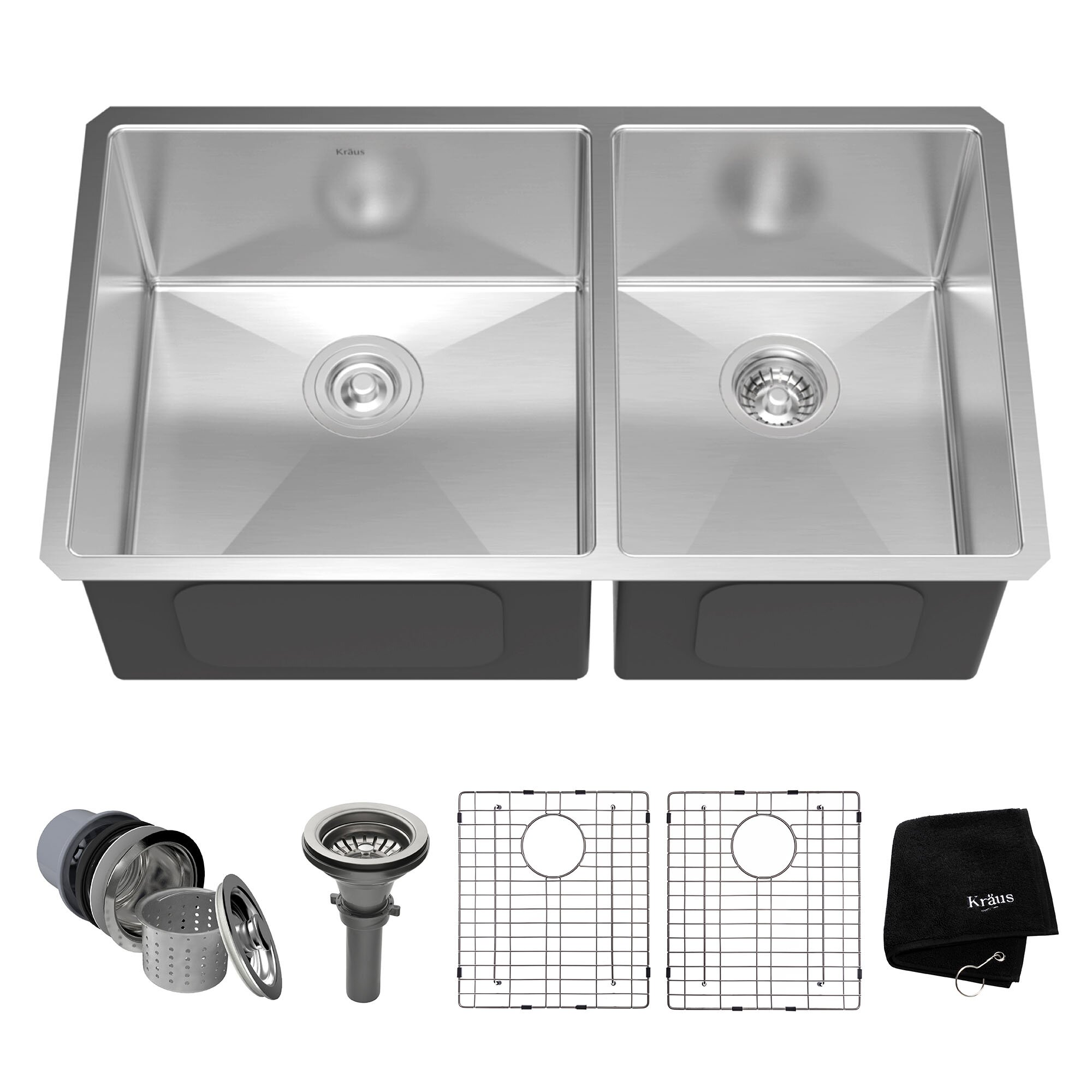 3275 x 19 double basin undermount kitchen sink with noisedefend soundproofing - Kitchen Sink Double