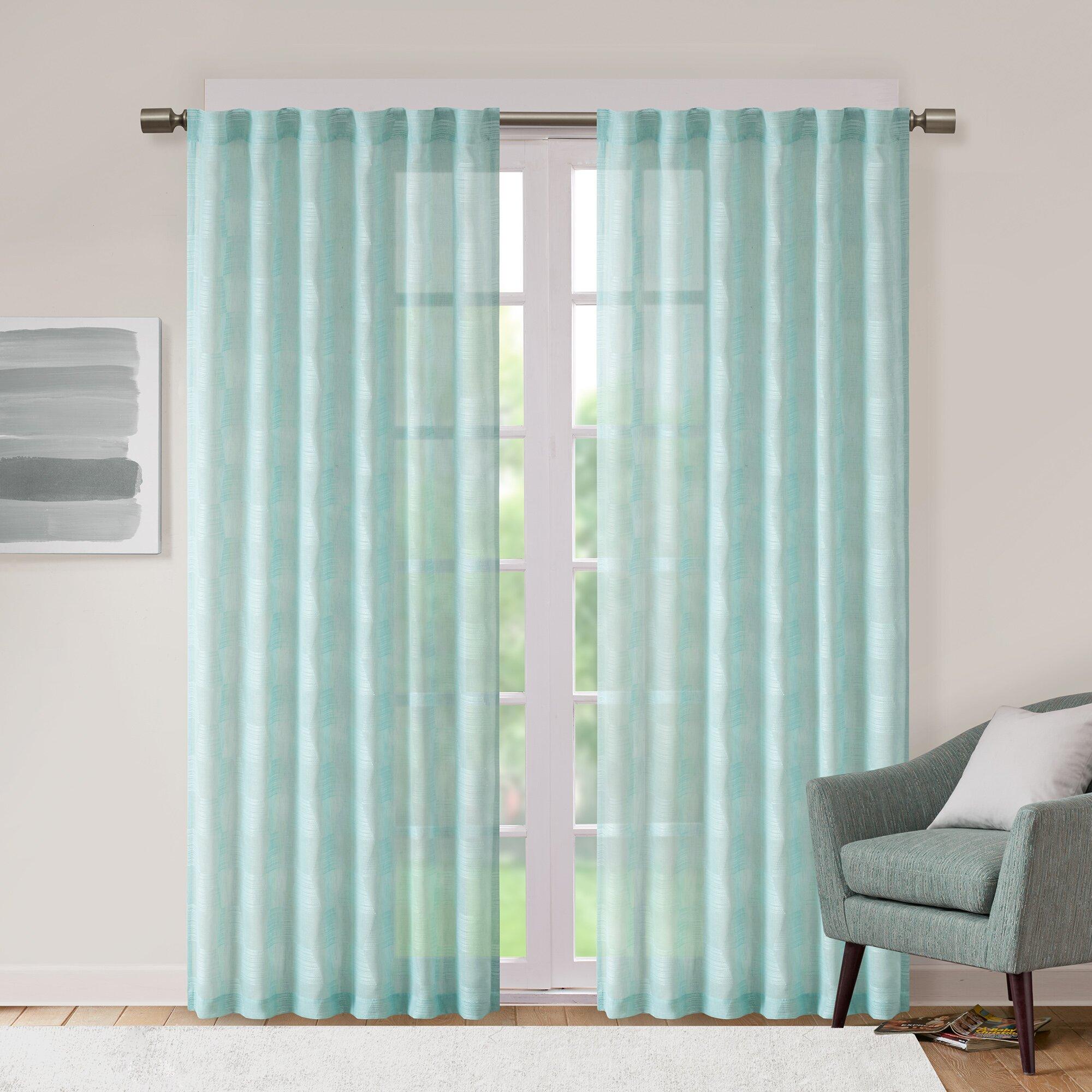 Belchertown Jacquard Geometric Sheer Tab Top Single Curtain Panel Joss Main