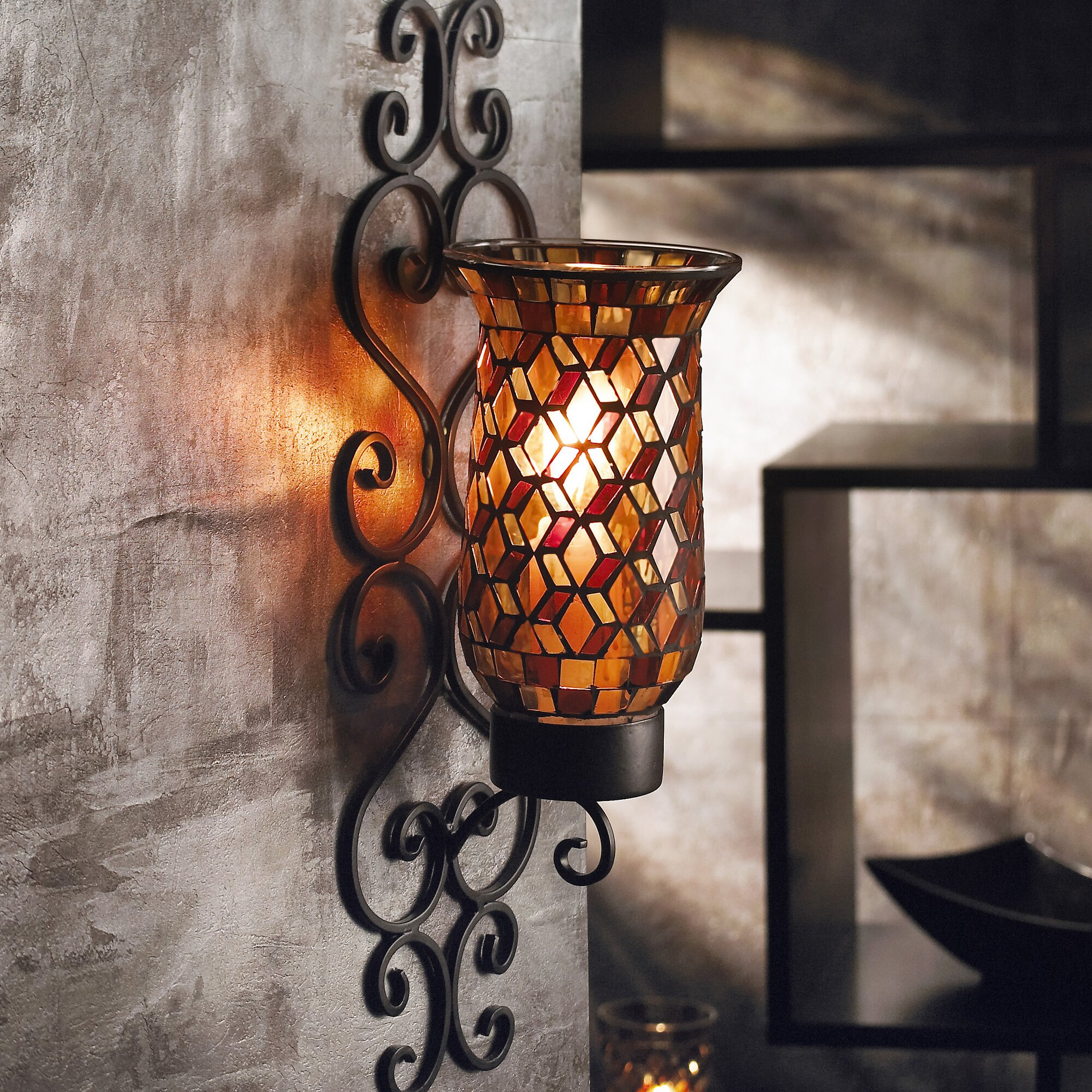 Mosaic Glass Wall Sconces : World Menagerie Mosaic Glass and Metal Wall Sconce & Reviews Wayfair