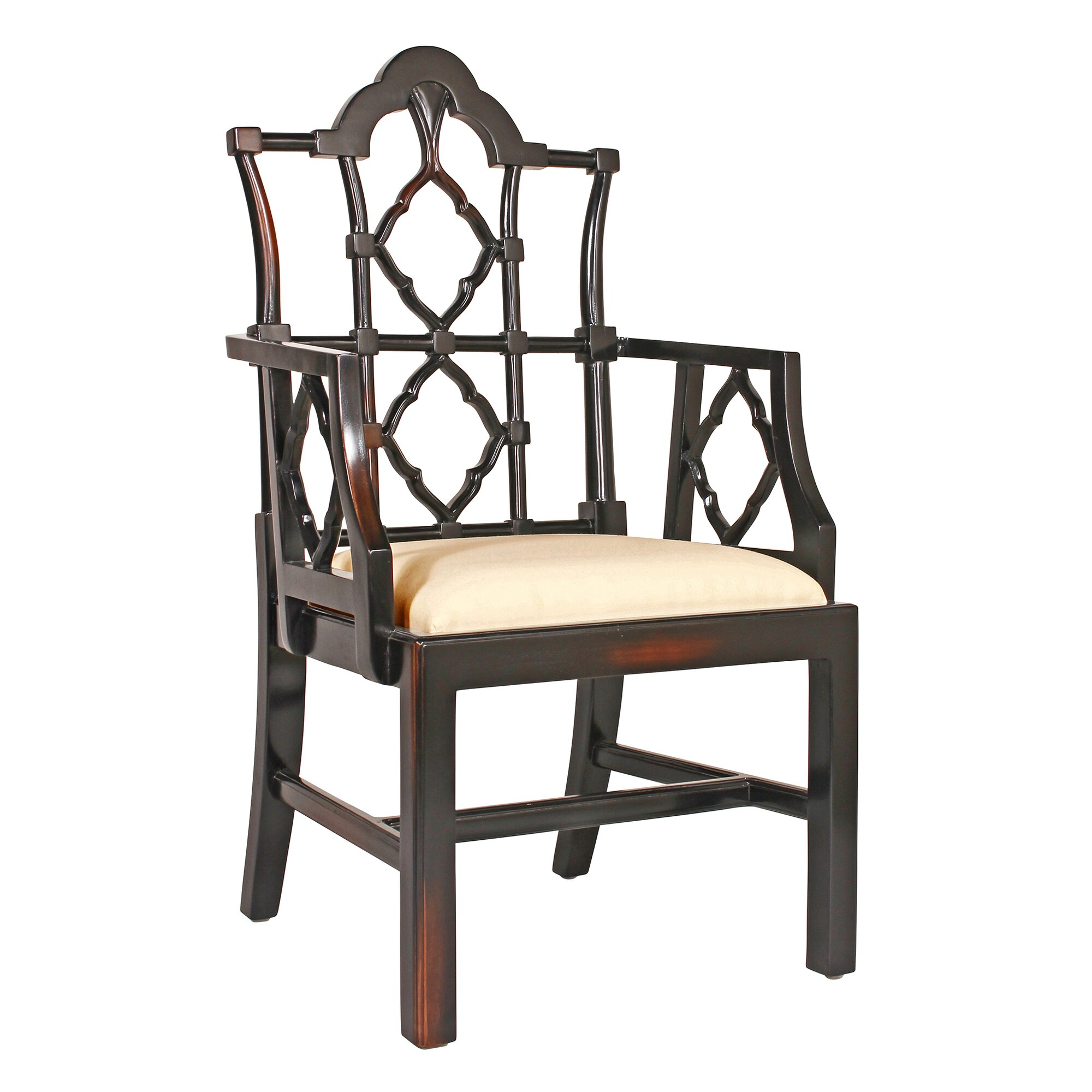 Chippendale arm chair - Chinese Chippendale Fabric Armchair