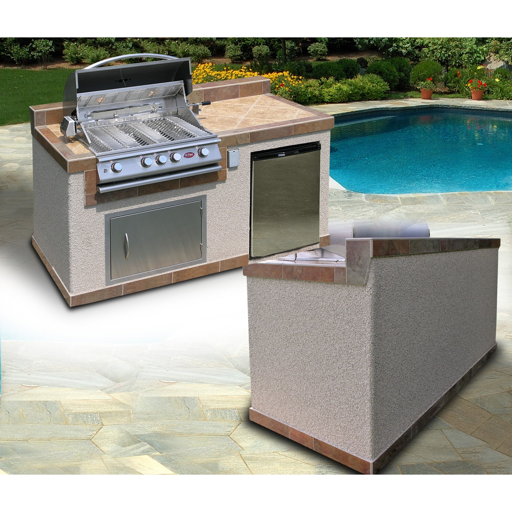 CalFlame 4-Burner Built-In Natural Gas Grill with Cabinet | Wayfair