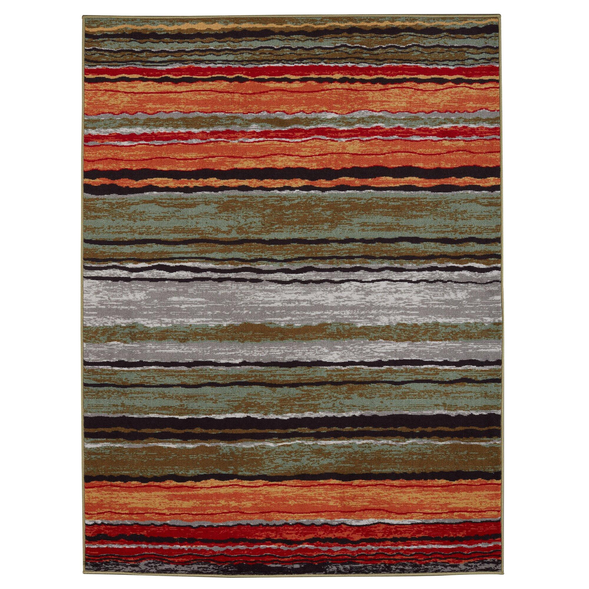 Diagona Designs Anne Stripe Orange Red Area Rug Amp Reviews