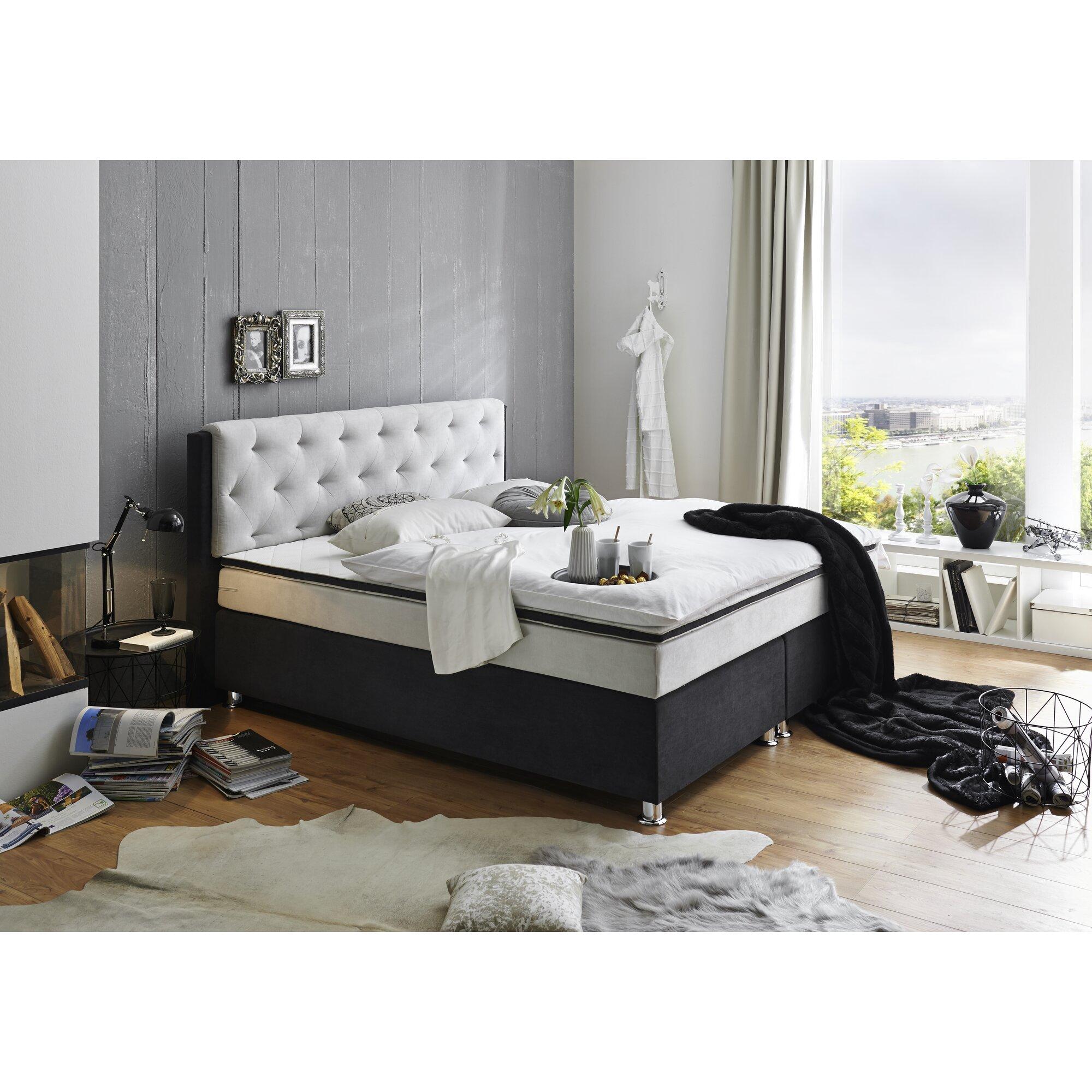 atlantic home collection boxspringbett ron mit topper. Black Bedroom Furniture Sets. Home Design Ideas