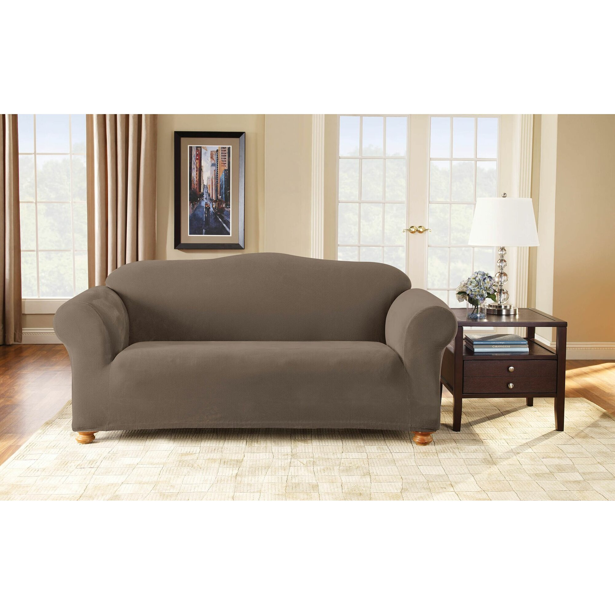 Sofa Slipcover With Separate Cushion Covers: Sure Fit Stretch Pique Separate Seat Sofa Slipcover