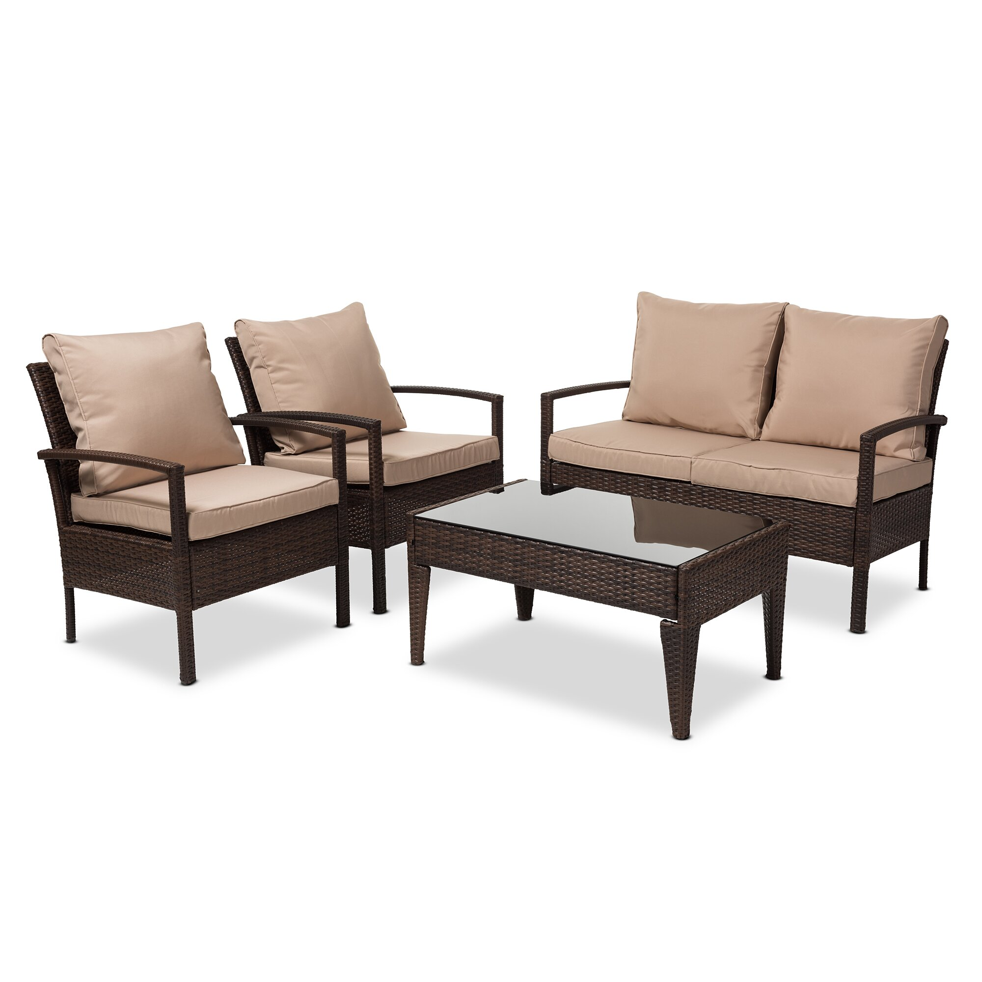 Bayou Breeze Dessie 4 Piece Rattan Sofa Set With Cushions