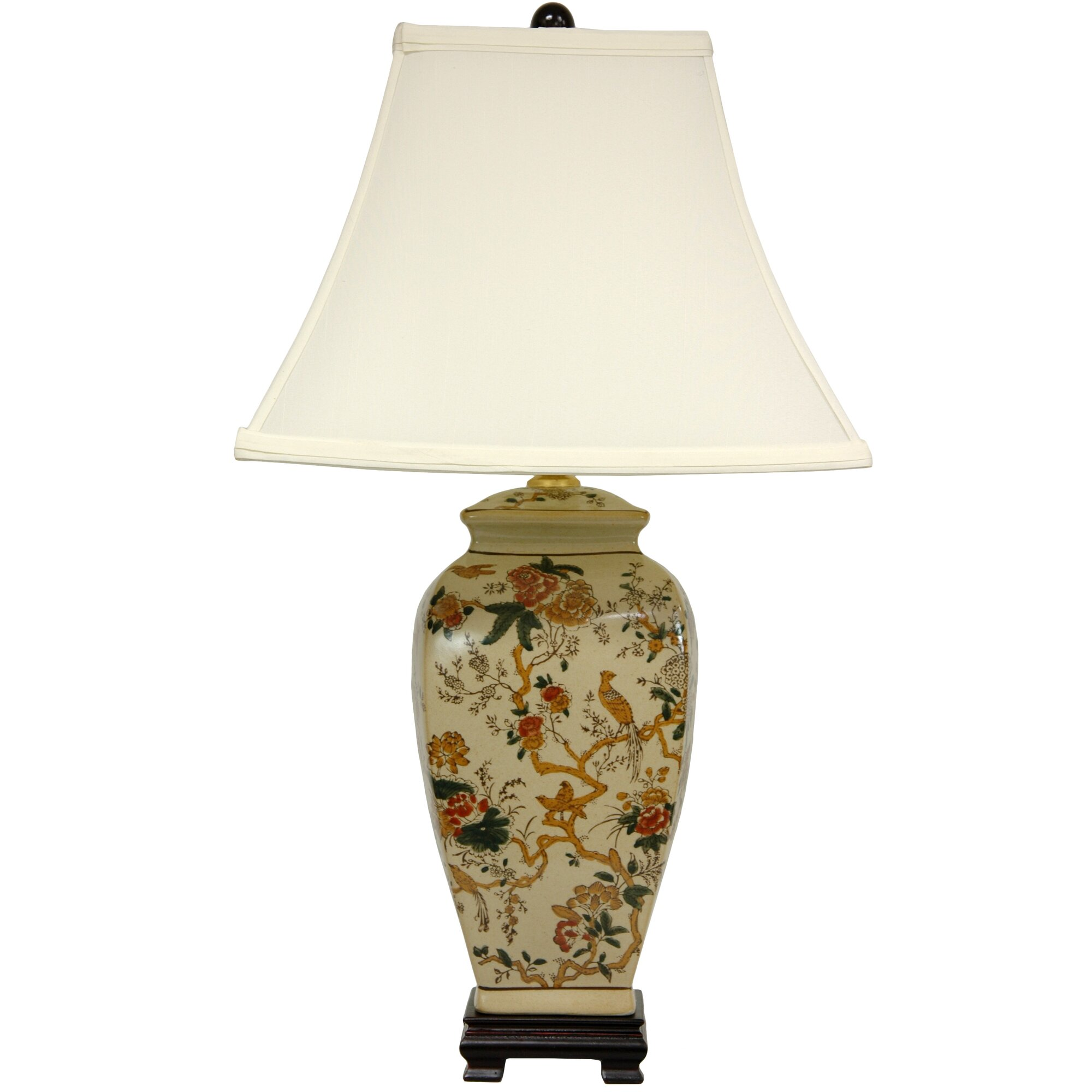 Lime green table lamp - Autumn Birds And Flowers Vase 25 Table Lamp