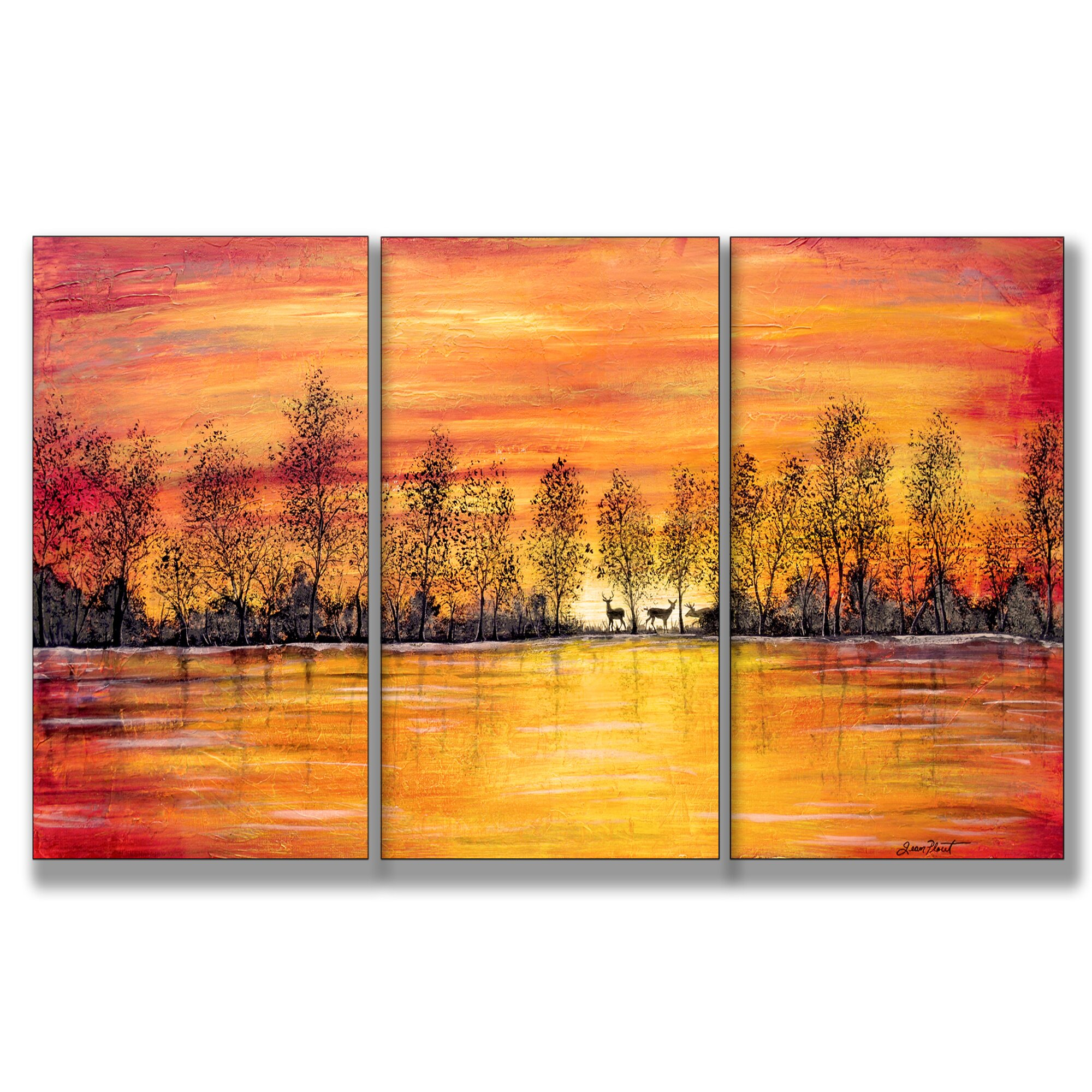 Stupell industries deer at sunset triptych 3 piece for Kitchen cabinets lowes with three piece canvas wall art