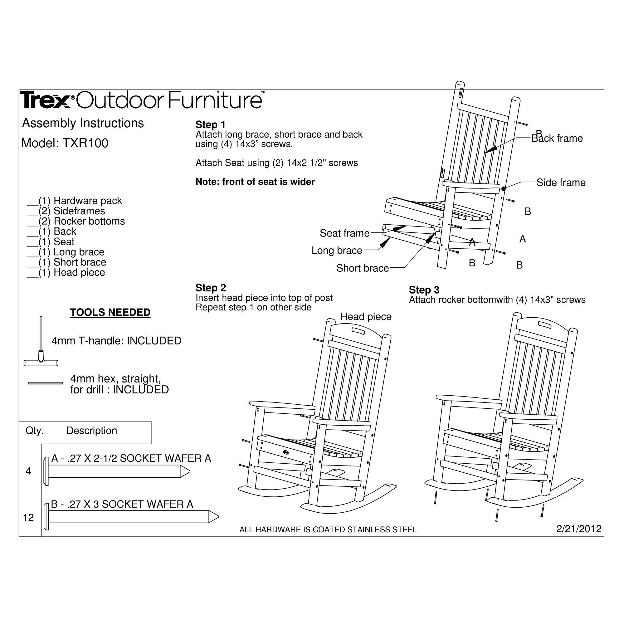 Trex Trex Outdoor Yacht Club 3 Piece Rocker Set & Reviews | Wayfair