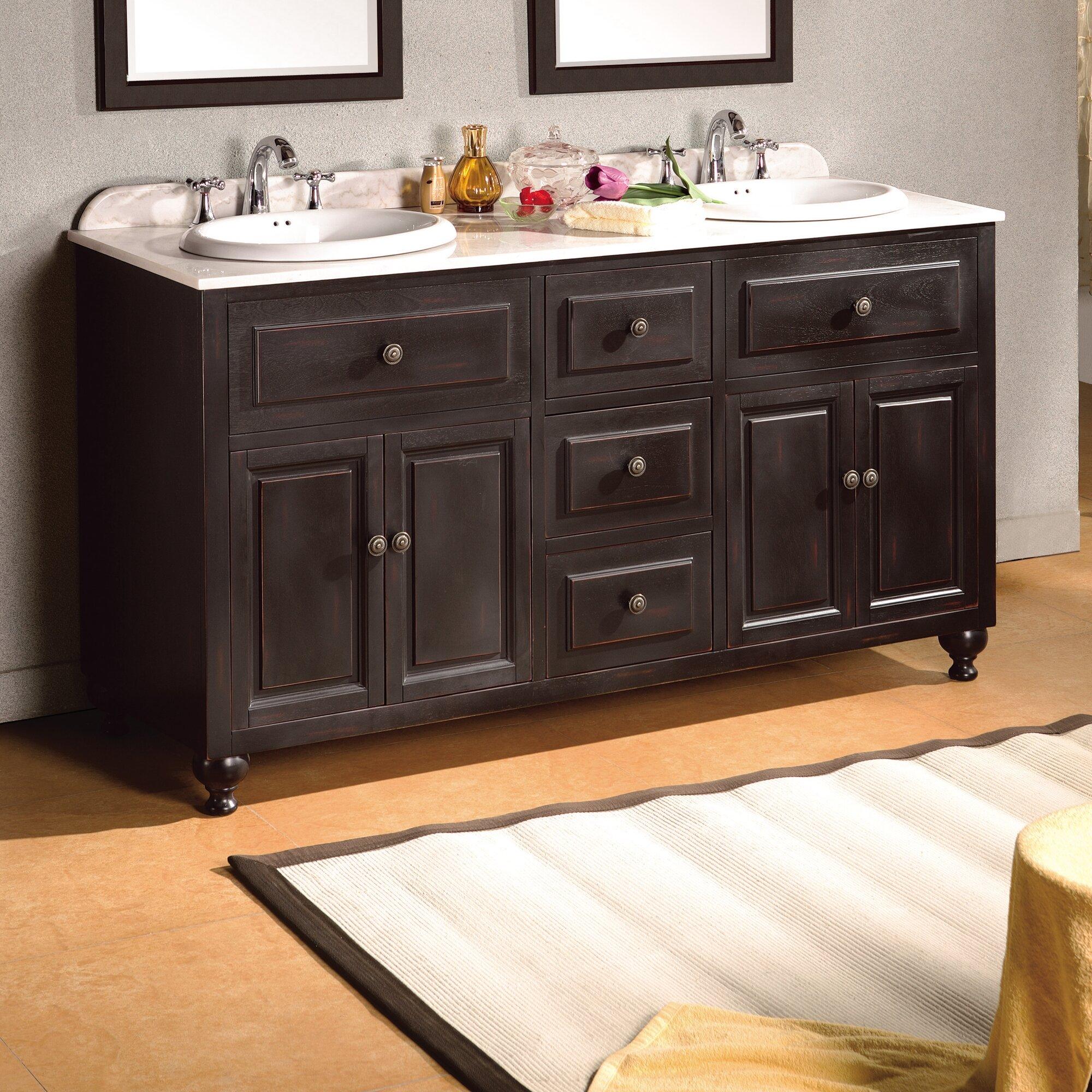 london 60 double bathroom vanity set - Ove Decors