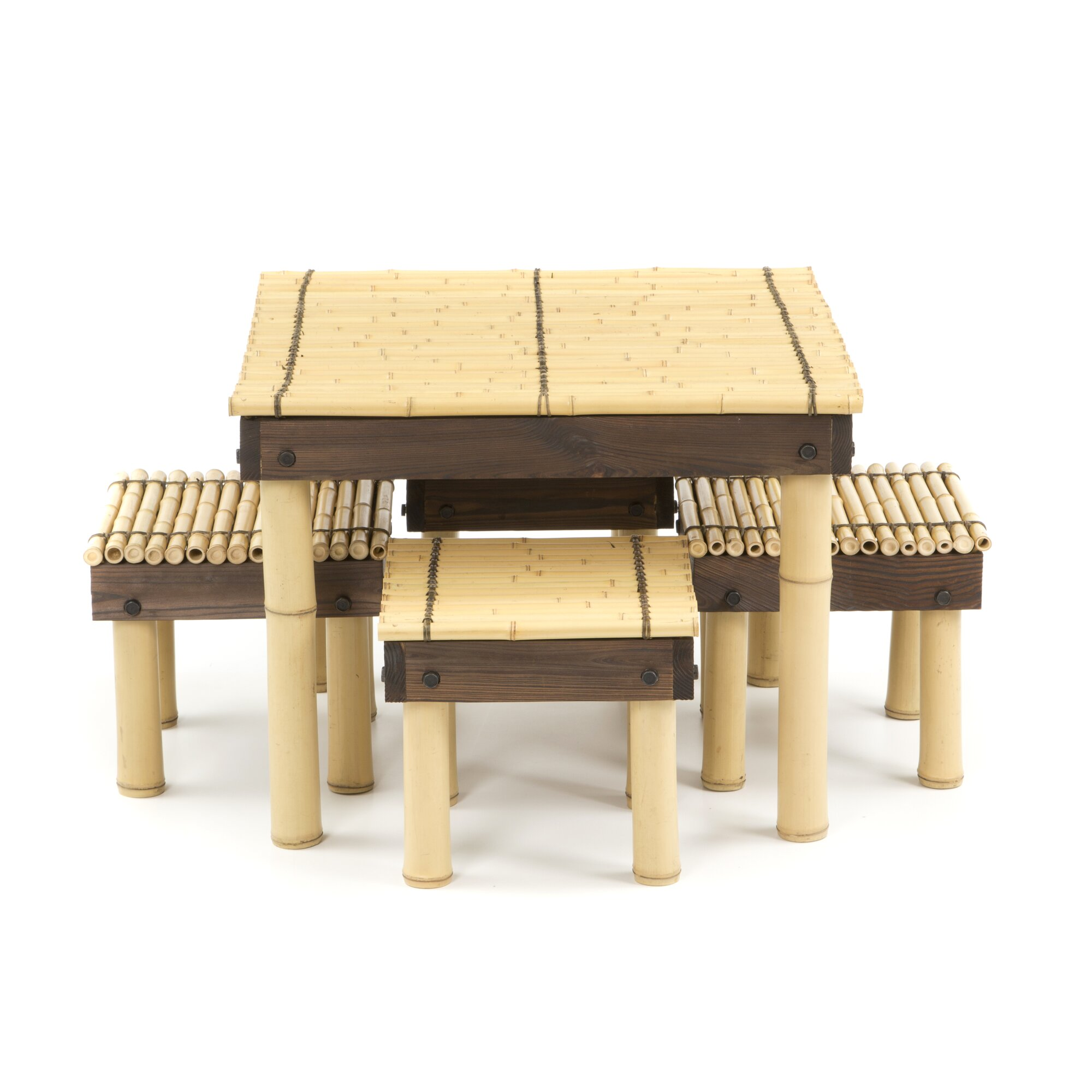 Oriental Furniture Zen Bamboo Coffee Table with Four Stools ...