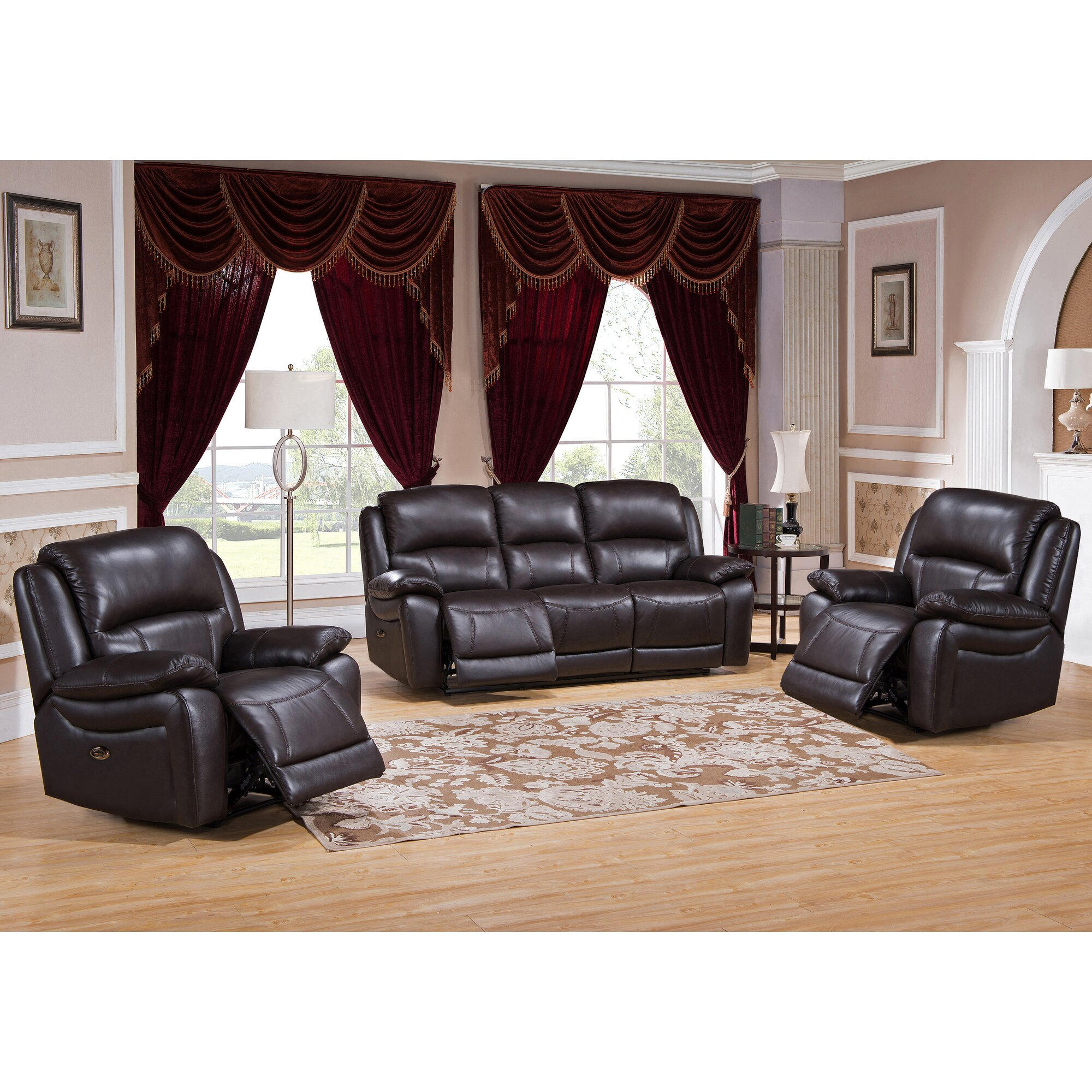 Hydelinebyamax Kingston 3 Piece Leather Living Room Set