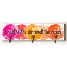 Breathe the Air Smell the Roses Solid Wood Wall Mounted Coat Rack by Zipcode Design