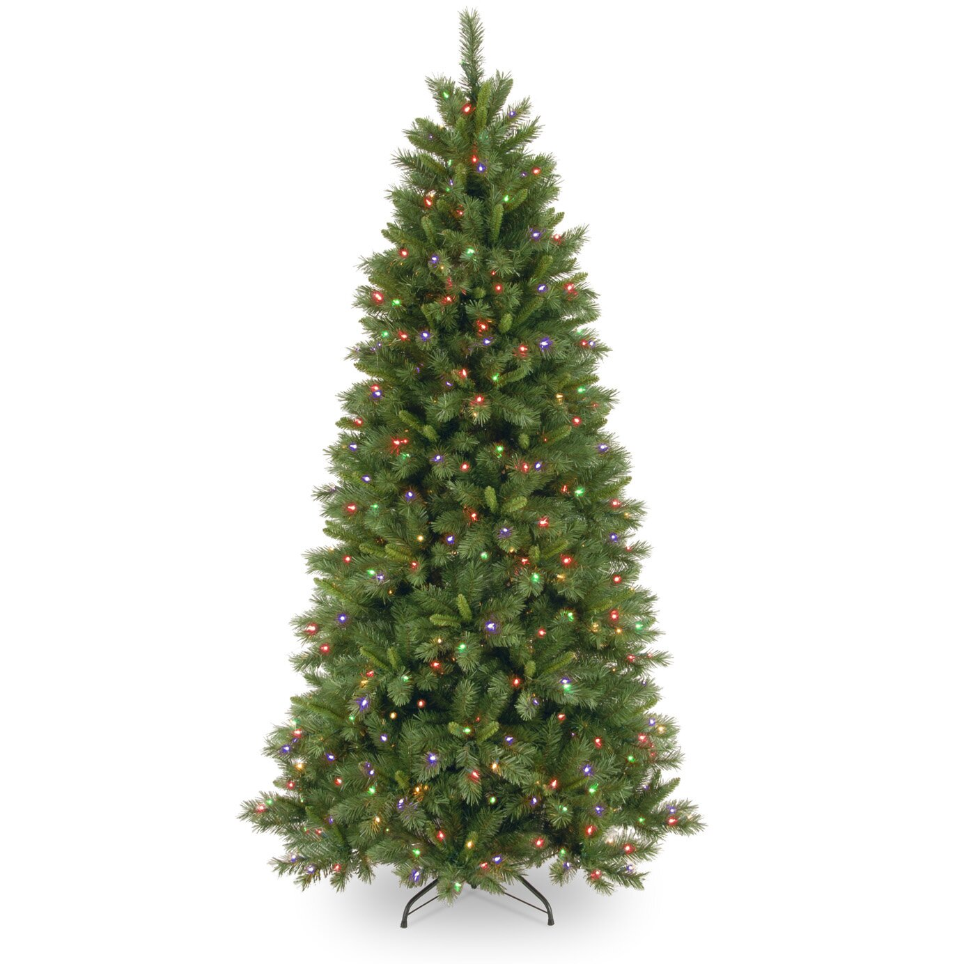 Slim white christmas tree with lights - Lehigh Valley Pine 7 5 Green Slim Hinged Artificial Christmas Tree With 450 Colored Clear